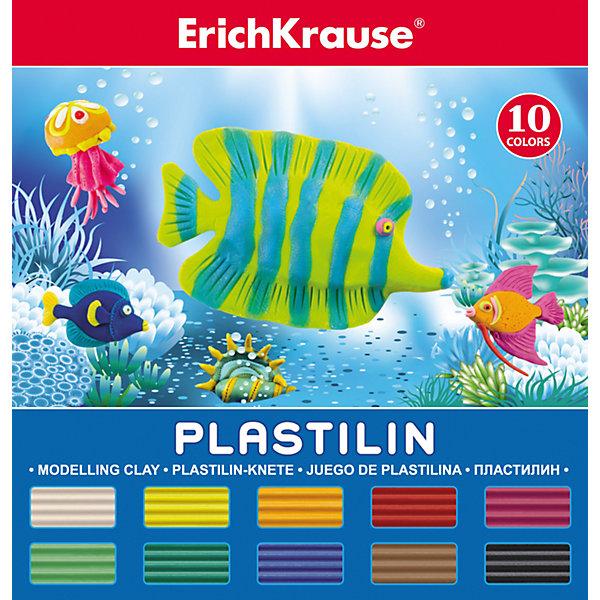Пластилин 10 цветов, 180г, со стекомРисование и лепка<br>Пластилин 10 цветов, 180г, со стеком<br><br>Характеристики:<br><br>• В набор входит: 10 брусочков пластилина, лопаточка-стек<br>• Размер упаковки: 15 * 1,7 * 14 см.<br>• Вес: 216 г.<br>• Для детей в возрасте: от 3-х лет<br>• Страна производитель: Китай<br><br>В набор входит лопаточка для пластилина, с ней вы сможете разрезать пластилин, делать его плоским или рифленым. Насыщенные цвета пластилина почти не оставляют следов на руках и могут перемешиваться между собой. Поделки из разных цветов отлично прикрепляются друг к другу. Работая с пластилином вы можете делать объемные фигурки, а также можете наносить пластилин на бумагу, картон или даже стекло, чтобы выполнять новые картины или даже фрески. <br><br>В набор входят основные десять цветов, которые помогут создать настоящие шедевры. Занимаясь лепкой дети развивают моторику рук, творческие способности, восприятие цветов и их сочетаний, а также лепка благотворно влияет на развитие речи, координацию движений, память и логическое мышление. Лепка всей семьей поможет весело и пользой провести время!<br><br>Пластилин 10 цветов, 180г, со стеком можно купить в нашем интернет-магазине.<br>Ширина мм: 142; Глубина мм: 151; Высота мм: 17; Вес г: 216; Возраст от месяцев: 60; Возраст до месяцев: 216; Пол: Унисекс; Возраст: Детский; SKU: 5409290;