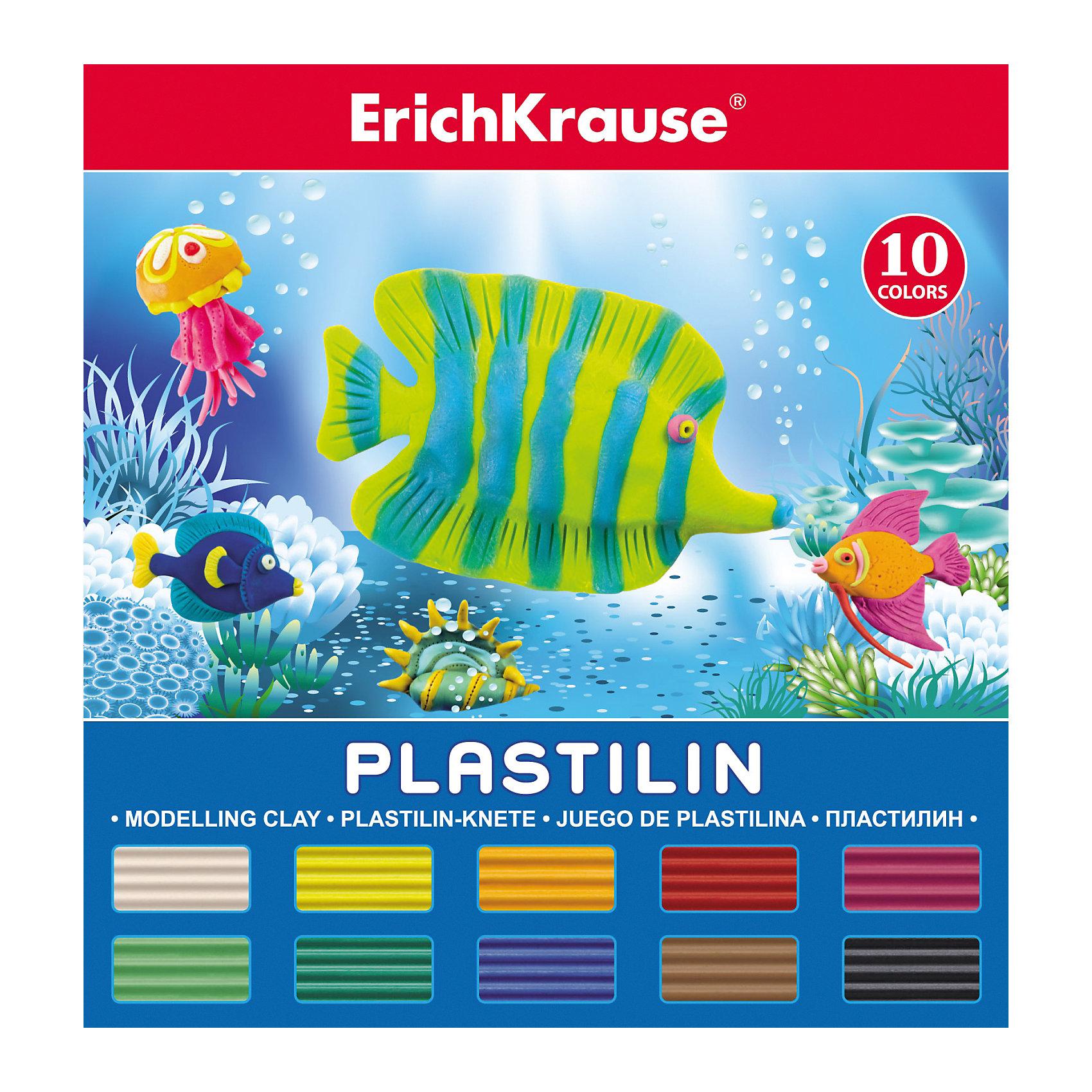 Пластилин 10 цветов, 180г, со стекомРисование и лепка<br>Пластилин 10 цветов, 180г, со стеком<br><br>Характеристики:<br><br>• В набор входит: 10 брусочков пластилина, лопаточка-стек<br>• Размер упаковки: 15 * 1,7 * 14 см.<br>• Вес: 216 г.<br>• Для детей в возрасте: от 3-х лет<br>• Страна производитель: Китай<br><br>В набор входит лопаточка для пластилина, с ней вы сможете разрезать пластилин, делать его плоским или рифленым. Насыщенные цвета пластилина почти не оставляют следов на руках и могут перемешиваться между собой. Поделки из разных цветов отлично прикрепляются друг к другу. Работая с пластилином вы можете делать объемные фигурки, а также можете наносить пластилин на бумагу, картон или даже стекло, чтобы выполнять новые картины или даже фрески. <br><br>В набор входят основные десять цветов, которые помогут создать настоящие шедевры. Занимаясь лепкой дети развивают моторику рук, творческие способности, восприятие цветов и их сочетаний, а также лепка благотворно влияет на развитие речи, координацию движений, память и логическое мышление. Лепка всей семьей поможет весело и пользой провести время!<br><br>Пластилин 10 цветов, 180г, со стеком можно купить в нашем интернет-магазине.<br><br>Ширина мм: 142<br>Глубина мм: 151<br>Высота мм: 17<br>Вес г: 216<br>Возраст от месяцев: 60<br>Возраст до месяцев: 216<br>Пол: Унисекс<br>Возраст: Детский<br>SKU: 5409290