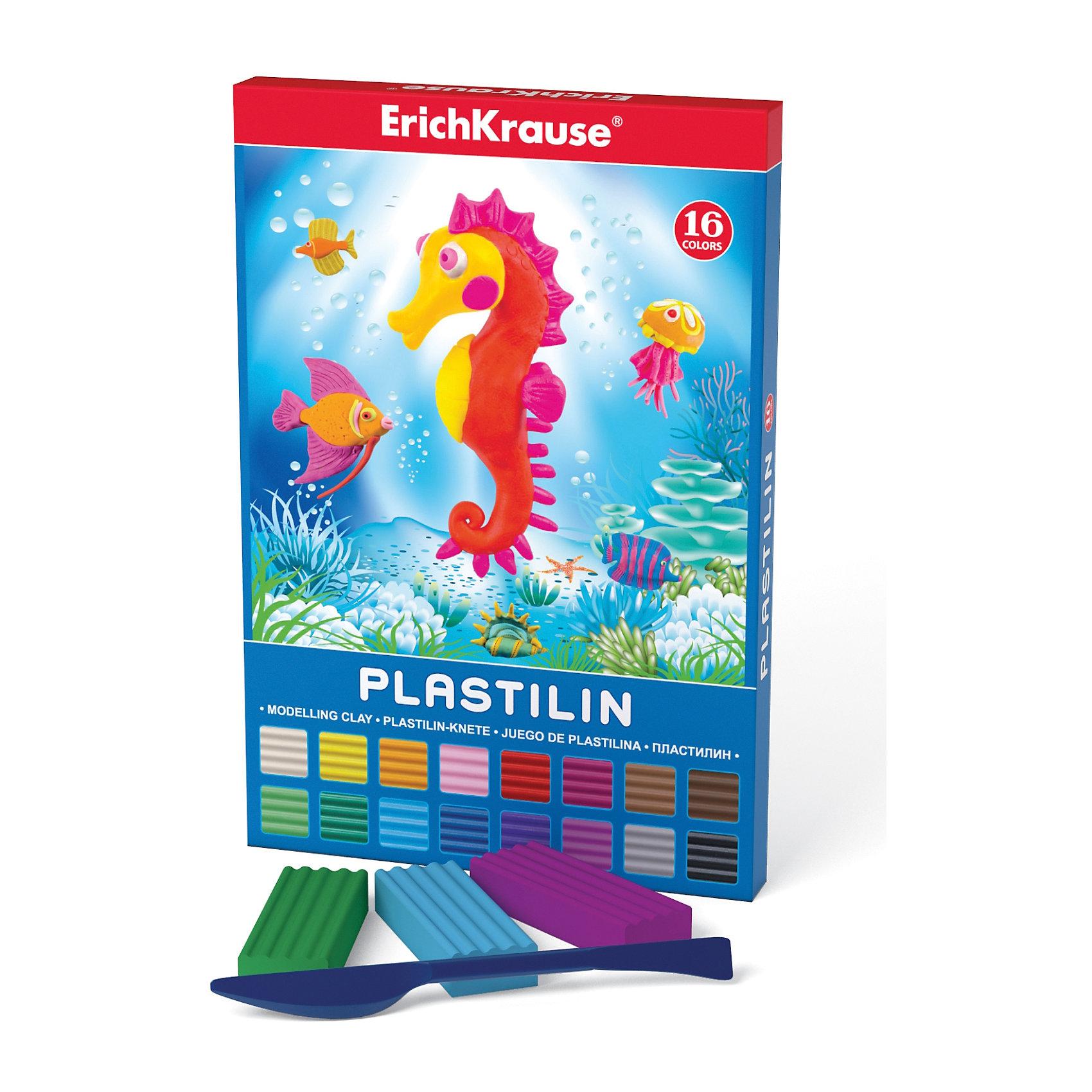 Пластилин 16 цветов, 288г, со стекомПластилин 16 цветов, 288г, со стеком<br><br>Характеристики:<br><br>• В набор входит: 16 брусочков пластилина, лопаточка-стек<br>• Размер упаковки: 22 * 1,7 * 16 см.<br>• Вес: 350 г.<br>• Для детей в возрасте: от 3-х лет<br>• Страна производитель: Китай<br><br>Шестнадцать ярких цветных брусочков пластилина изготовлены из безопасных для детей материалов и уже готовы к лепке. В набор входит лопаточка для пластилина, с ней вы сможете разрезать пластилин, делать его плоским или рифленым. Насыщенные цвета пластилина почти не оставляют следов на руках и могут перемешиваться между собой. Поделки из разных цветов отлично прикрепляются друг к другу. Работая с пластилином вы можете делать объемные фигурки, а также можете наносить пластилин на бумагу, картон или даже стекло, чтобы выполнять новые картины или даже фрески. <br><br>В набор входят целых шестнадцать цветов, которые помогут создать настоящие шедевры. Занимаясь лепкой дети развивают моторику рук, творческие способности, восприятие цветов и их сочетаний, а также лепка благотворно влияет на развитие речи, координацию движений, память и логическое мышление. Лепка всей семьей поможет весело и пользой провести время!<br><br>Пластилин 16 цветов, 288г, со стеком можно купить в нашем интернет-магазине.<br><br>Ширина мм: 149<br>Глубина мм: 220<br>Высота мм: 17<br>Вес г: 349<br>Возраст от месяцев: 60<br>Возраст до месяцев: 216<br>Пол: Унисекс<br>Возраст: Детский<br>SKU: 5409291
