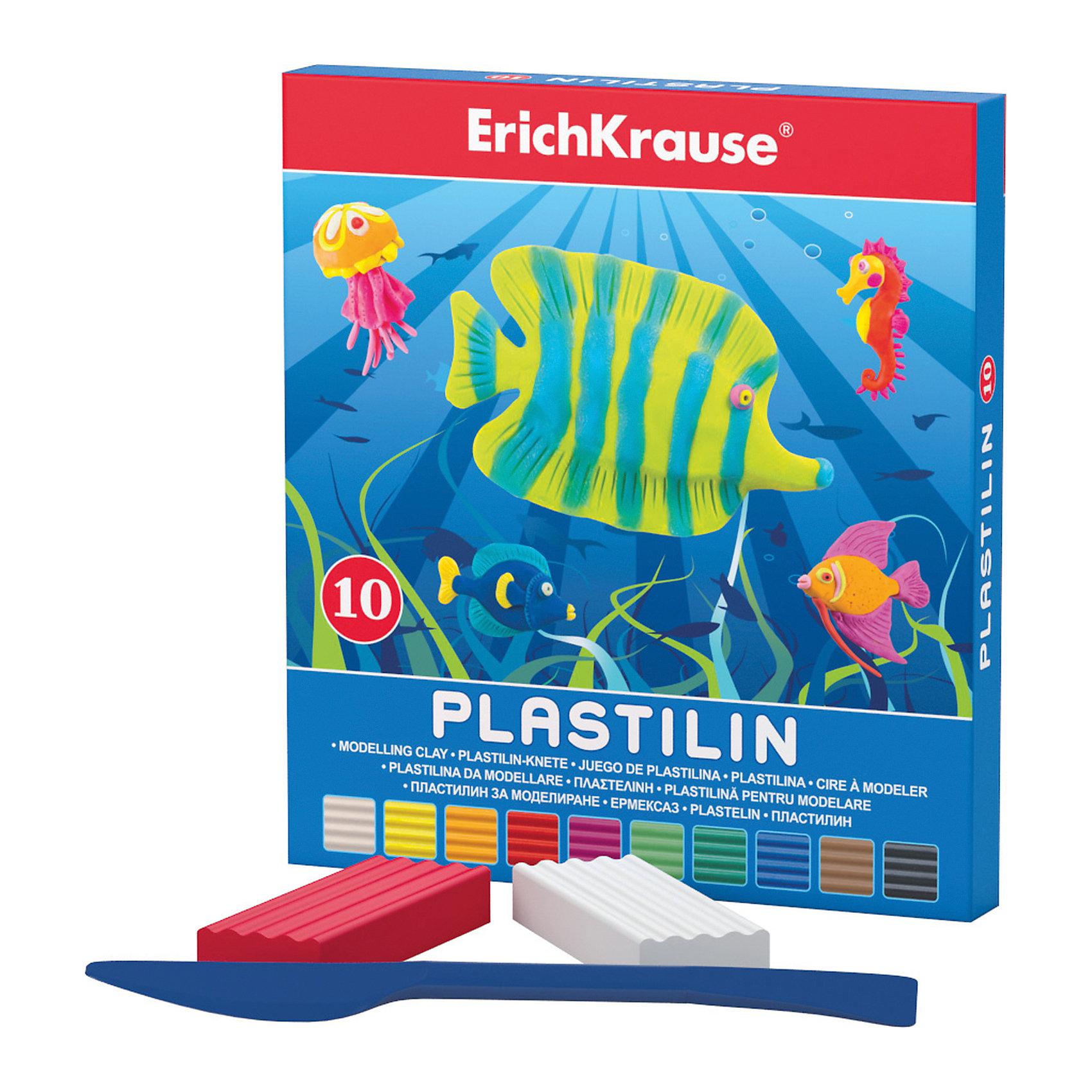 Пластилин 10 цветов, 180г, со стекомПластилин 10 цветов, 180г, со стеком<br><br>Характеристики:<br><br>• В набор входит: 10 брусочков пластилина, лопаточка-стек<br>• Размер упаковки: 14,5 * 1,6 * 13 см.<br>• Вес: 213 г.<br>• Для детей в возрасте: от 3-х лет<br>• Страна производитель: Китай<br><br>Десять ярких цветных брусочков пластилина изготовлены из безопасных для детей материалов и уже готовы к лепке. В набор входит лопаточка для пластилина, с ней вы сможете разрезать пластилин, делать его плоским или рифленым. Насыщенные цвета пластилина почти не оставляют следов на руках и могут перемешиваться между собой. Поделки из разных цветов отлично прикрепляются друг к другу. Работая с пластилином вы можете делать объемные фигурки, а также можете наносить пластилин на бумагу, картон или даже стекло, чтобы выполнять новые картины или даже фрески. <br><br>В набор входят основные десять цветов, которые помогут создать настоящие шедевры. Занимаясь лепкой дети развивают моторику рук, творческие способности, восприятие цветов и их сочетаний, а также лепка благотворно влияет на развитие речи, координацию движений, память и логическое мышление. Лепка всей семьей поможет весело и пользой провести время!<br><br>Пластилин 10 цветов, 180г, со стеком можно купить в нашем интернет-магазине<br><br>Ширина мм: 133<br>Глубина мм: 145<br>Высота мм: 16<br>Вес г: 213<br>Возраст от месяцев: 60<br>Возраст до месяцев: 216<br>Пол: Унисекс<br>Возраст: Детский<br>SKU: 5409292