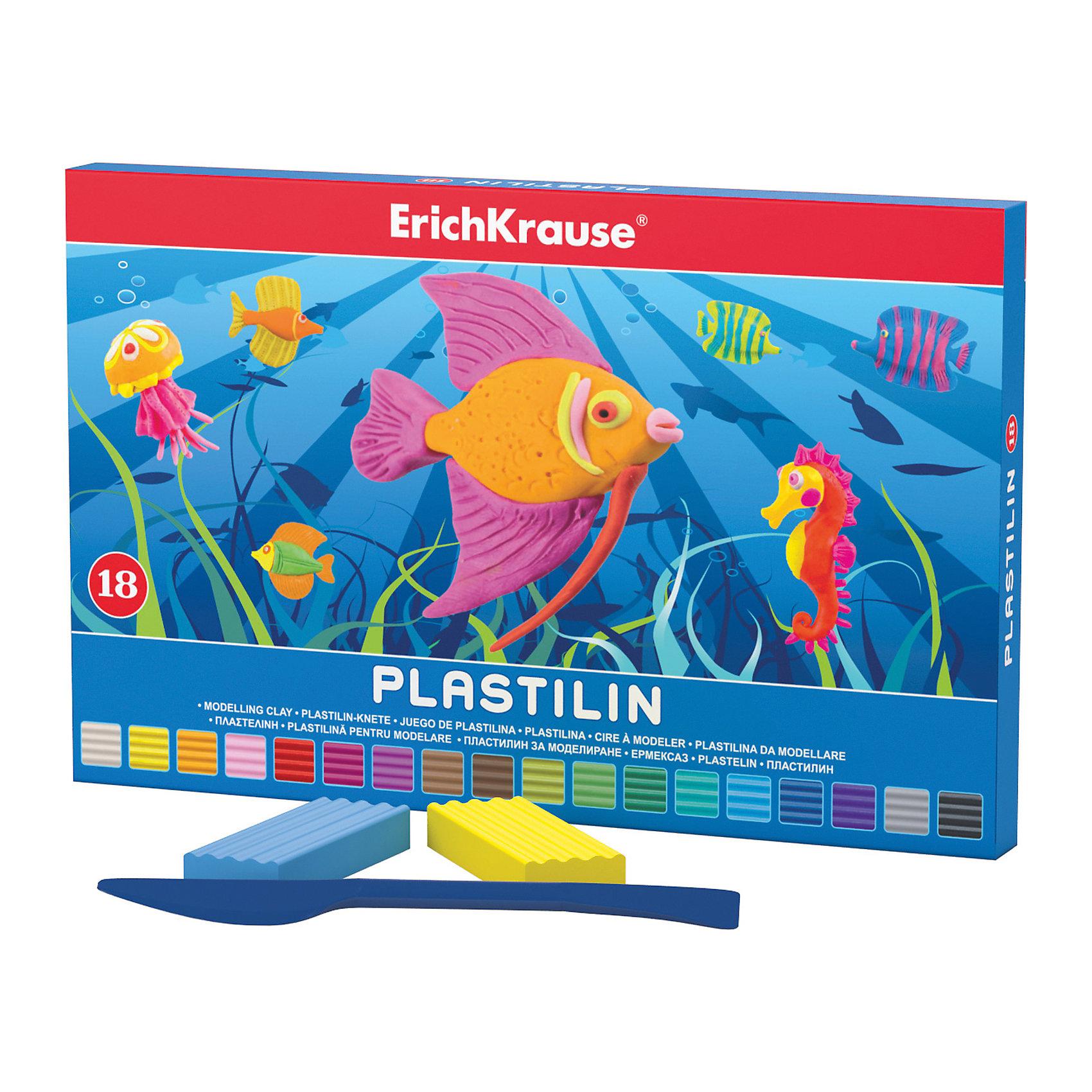Пластилин 18 цветов, 324г, со стекомРисование и лепка<br>Пластилин 18 цветов, 324г, со стеком<br><br>Характеристики:<br><br>• В набор входит: 18 брусочков пластилина, лопаточка-стек<br>• Размер упаковки: 22,5 * 1,6 * 14 см.<br>• Вес: 383 г.<br>• Для детей в возрасте: от 3-х лет<br>• Страна производитель: Китай<br><br>Восемнадцать ярких цветных брусочков пластилина изготовлены из безопасных для детей материалов и уже готовы к лепке. В набор входит лопаточка для пластилина, с ней вы сможете разрезать пластилин, делать его плоским или рифленым. Насыщенные цвета пластилина почти не оставляют следов на руках и могут перемешиваться между собой. Поделки из разных цветов отлично прикрепляются друг к другу. Работая с пластилином вы можете делать объемные фигурки, а также можете наносить пластилин на бумагу, картон или даже стекло, чтобы выполнять новые картины или даже фрески. <br><br>В набор входят целых восемнадцать цветов, которые помогут создать настоящие шедевры. Занимаясь лепкой дети развивают моторику рук, творческие способности, восприятие цветов и их сочетаний, а также лепка благотворно влияет на развитие речи, координацию движений, память и логическое мышление. Лепка всей семьей поможет весело и пользой провести время!<br><br>Пластилин 18 цветов, 324г, со стеком можно купить в нашем интернет-магазине.<br><br>Ширина мм: 225<br>Глубина мм: 143<br>Высота мм: 16<br>Вес г: 383<br>Возраст от месяцев: 60<br>Возраст до месяцев: 216<br>Пол: Унисекс<br>Возраст: Детский<br>SKU: 5409294