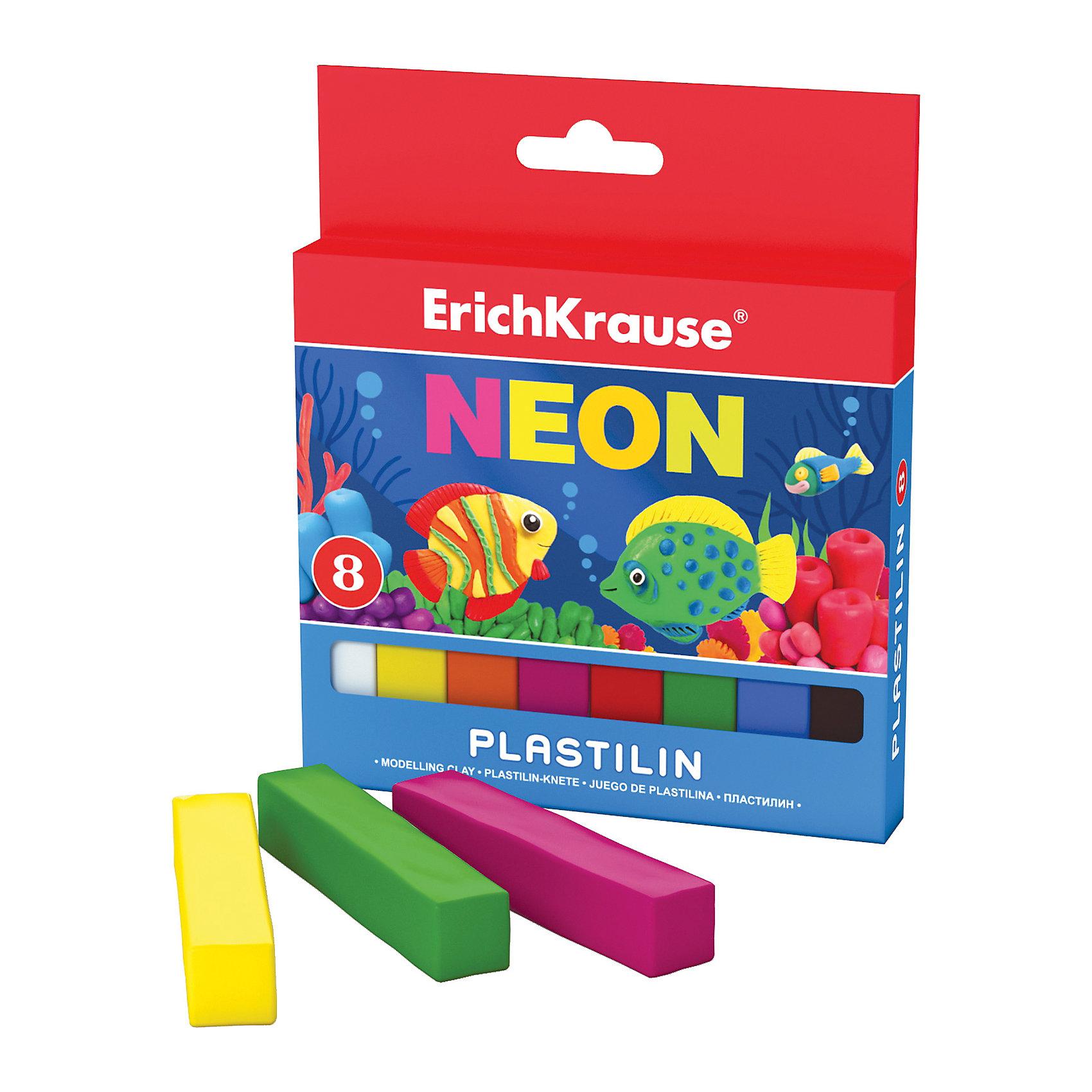 Пластилин Neon 8 цветов, 120гРисование и лепка<br>Пластилин Neon 8 цветов, 120г.<br><br>Характеристики:<br><br>• В набор входит: 8 брусочков пластилина<br>• Размер упаковки: 13 * 1,4 * 11 см.<br>• Вес: 137 г.<br>• Для детей в возрасте: от 3-х лет<br>• Страна производитель: Китай<br><br>Восемь ярких цветных брусочков пластилина изготовлены из безопасных для детей материалов и уже готовы к лепке. Насыщенные неоновые цвета светятся под ультрафиолетовой лампой,почти не оставляют следов на руках и могут перемешиваться между собой. Поделки из разных цветов отлично прикрепляются друг к другу. Работая с пластилином вы можете делать объемные фигурки, а также можете наносить пластилин на бумагу, картон или даже стекло, чтобы выполнять новые картины или даже фрески. <br><br>В набор входят основные восемь цветов, которые помогут создать множество поделок. Занимаясь лепкой дети развивают моторику рук, творческие способности, восприятие цветов и их сочетаний, а также лепка благотворно влияет на развитие речи, координацию движений, память и логическое мышление. Лепка всей семьей поможет весело и пользой провести время!<br><br>Пластилин Neon 8 цветов, 120г. можно купить в нашем интернет-магазине.<br><br>Ширина мм: 107<br>Глубина мм: 127<br>Высота мм: 14<br>Вес г: 137<br>Возраст от месяцев: 60<br>Возраст до месяцев: 216<br>Пол: Унисекс<br>Возраст: Детский<br>SKU: 5409295