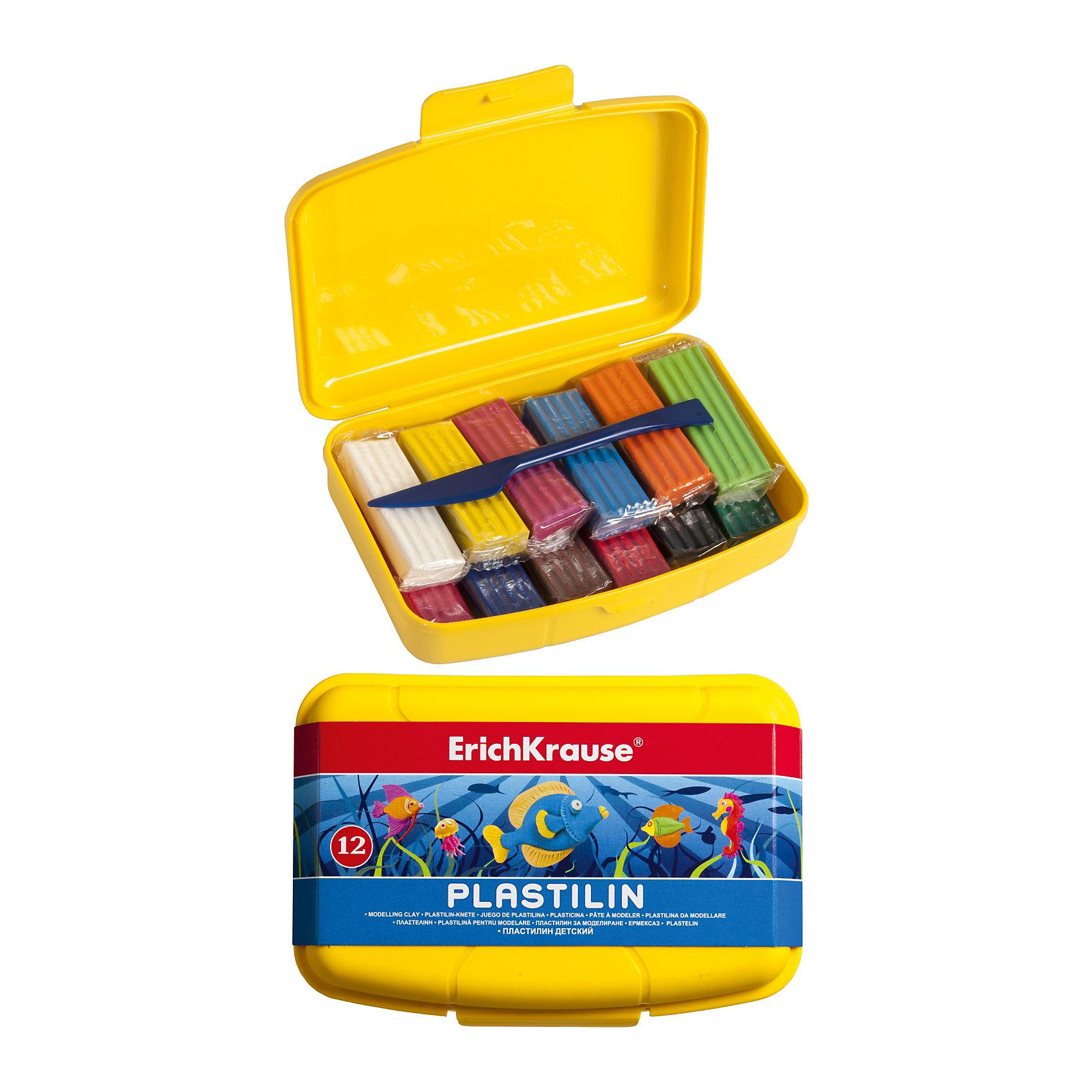 Пластилин 12 цветов, 216г, со стекомПластилин 12 цветов, 216г, со стеком<br><br>Характеристики:<br><br>• В набор входит: 12 брусочков пластилина, лопаточка-стек, желтый бокс<br>• Размер упаковки: 17 * 4 * 11 см.<br>• Вес: 313 г.<br>• Для детей в возрасте: от 3-х лет<br>• Страна производитель: Китай<br><br>Яркий жёлтый бокс отлично подходит для хранения пластилина и организации труда. Двенадцать ярких цветных брусочков пластилина изготовлены из безопасных для детей материалов и уже готовы к лепке. В набор входит лопаточка для пластилина, с ней вы сможете разрезать пластилин, делать его плоским или рифленым. Насыщенные цвета пластилина почти не оставляют следов на руках и могут перемешиваться между собой. Поделки из разных цветов отлично прикрепляются друг к другу. Работая с пластилином вы можете делать объемные фигурки, а также можете наносить пластилин на бумагу, картон или даже стекло, чтобы выполнять новые картины или даже фрески. <br><br>В набор входят основные двенадцать цветов, которые помогут создать настоящие шедевры. Занимаясь лепкой дети развивают моторику рук, творческие способности, восприятие цветов и их сочетаний, а также лепка благотворно влияет на развитие речи, координацию движений, память и логическое мышление. Лепка всей семьей поможет весело и пользой провести время!<br><br>Пластилин 12 цветов, 216г, со стеком можно купить в нашем интернет-магазине<br><br>Ширина мм: 170<br>Глубина мм: 40<br>Высота мм: 110<br>Вес г: 313<br>Возраст от месяцев: 60<br>Возраст до месяцев: 216<br>Пол: Унисекс<br>Возраст: Детский<br>SKU: 5409296