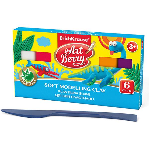 Мягкий пластилин ArtBerry с Алоэ Вера, 6 цветов, 120гРисование и лепка<br>Характеристики товара:<br><br>• материал упаковки: картон<br>• в комплект входит: пластилин, стек<br>• количество цветов: 6<br>• возраст: от 3 лет<br>• габариты упаковки: 13,5х11х1,8 см<br>• вес: 139 г<br>• страна производитель: Россия<br><br>Мягкий пластилин изготовлен с введением в состав Алоэ Вера. Благодаря этому параметру пластилин не сушит детскую кожу, а наоборот, бережно ухаживает за поверхностью ручек малыша. Сам пластилин отлично лепится и застывает на воздухе через 12 часов.<br><br>Мягкий пластилин ArtBerry с Алоэ Вера, 6 цветов/120г, коробка, со стеком можно купить в нашем интернет-магазине.<br>Ширина мм: 135; Глубина мм: 110; Высота мм: 18; Вес г: 139; Возраст от месяцев: 36; Возраст до месяцев: 2147483647; Пол: Унисекс; Возраст: Детский; SKU: 5409311;