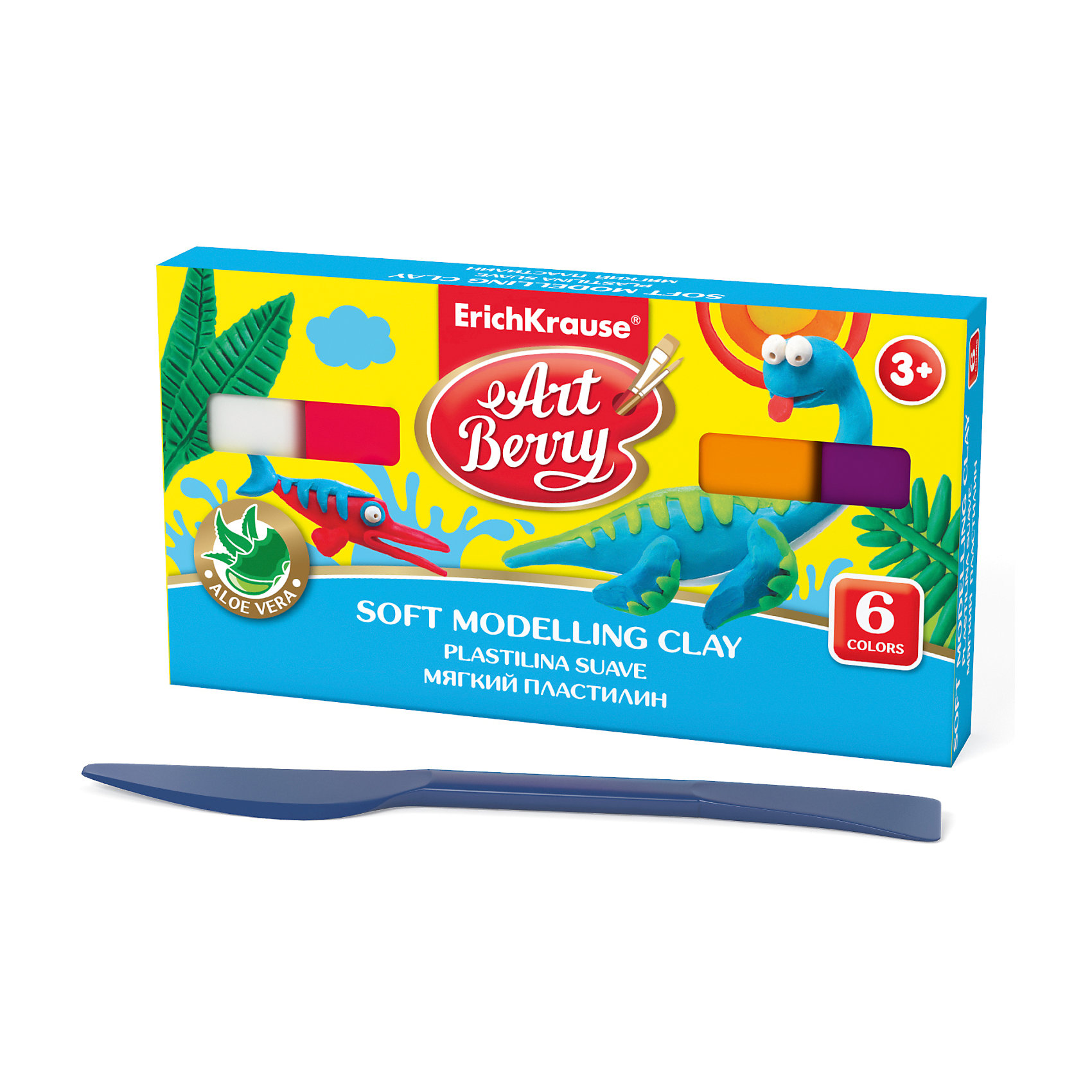 Мягкий пластилин ArtBerry с Алоэ Вера, 6 цветов, 120гРисование и лепка<br>Характеристики товара:<br><br>• материал упаковки: картон<br>• в комплект входит: пластилин, стек<br>• количество цветов: 6<br>• возраст: от 3 лет<br>• габариты упаковки: 13,5х11х1,8 см<br>• вес: 139 г<br>• страна производитель: Россия<br><br>Мягкий пластилин изготовлен с введением в состав Алоэ Вера. Благодаря этому параметру пластилин не сушит детскую кожу, а наоборот, бережно ухаживает за поверхностью ручек малыша. Сам пластилин отлично лепится и застывает на воздухе через 12 часов.<br><br>Мягкий пластилин ArtBerry с Алоэ Вера, 6 цветов/120г, коробка, со стеком можно купить в нашем интернет-магазине.<br><br>Ширина мм: 135<br>Глубина мм: 110<br>Высота мм: 18<br>Вес г: 139<br>Возраст от месяцев: 36<br>Возраст до месяцев: 2147483647<br>Пол: Унисекс<br>Возраст: Детский<br>SKU: 5409311