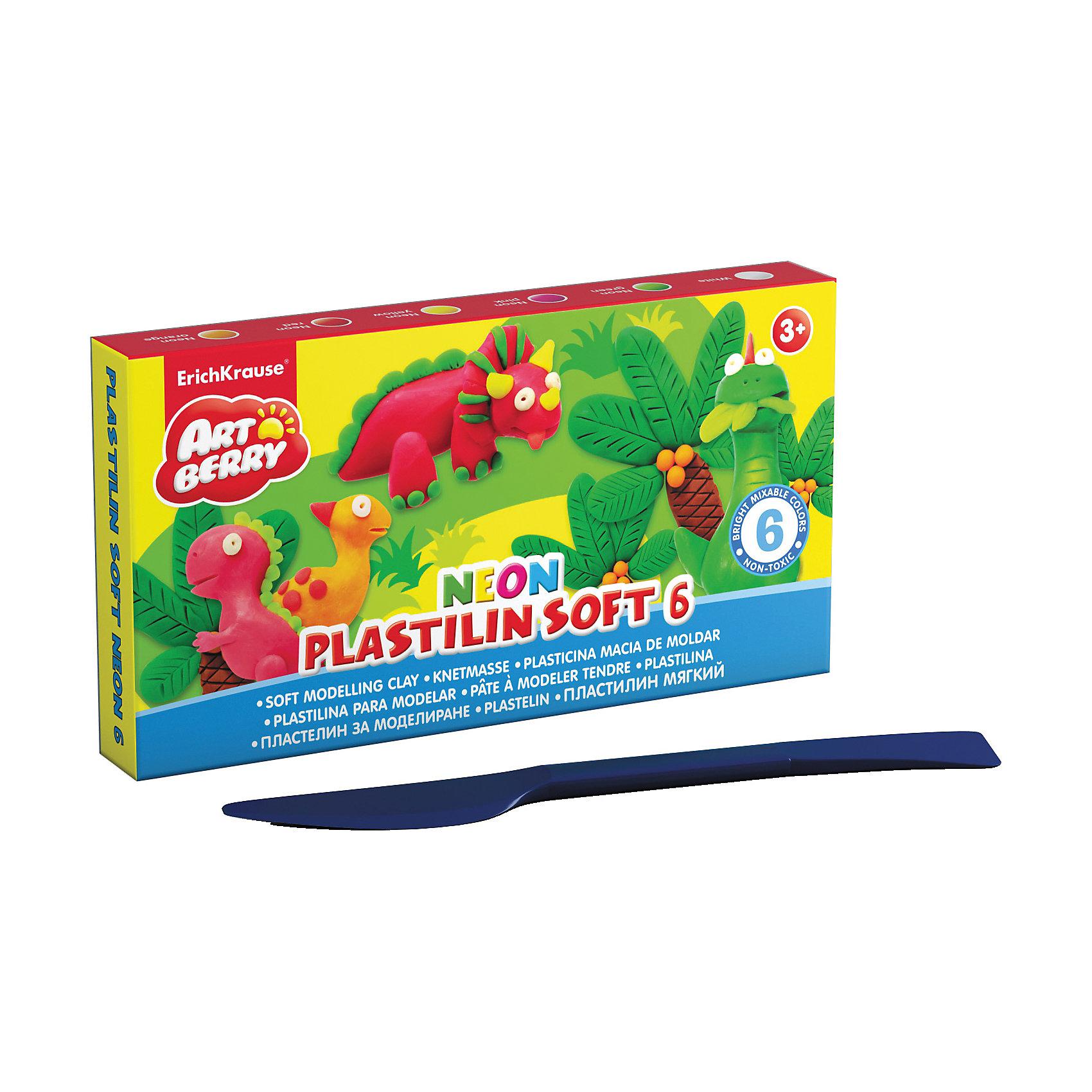 Пластилин мягкий Artberry NEON 6 цветов, 120г, со стекомЛепка<br>Характеристики товара:<br><br>• материал упаковки: картон<br>• в комплект входит: пластилин, стек<br>• количество цветов: 12<br>• возраст: от 3 лет<br>• габариты упаковки: 14х14х1,8 см<br>• вес: 273 г<br>• страна производитель: Россия<br><br>Лепка из мягкого пластилина – полезное и очень увлекательное занятие для детей любого возраста. Лепка развивает мелкую моторику у малыша и творческие способности. Лепить можно самостоятельно и вместе со взрослыми. Пластилин не токсичен.<br><br>Пластилин мягкий Artberry NEON 12 цветов, 240г, со стеком можно купить в нашем интернет-магазине.<br><br>Ширина мм: 105<br>Глубина мм: 75<br>Высота мм: 45<br>Вес г: 139<br>Возраст от месяцев: 36<br>Возраст до месяцев: 2147483647<br>Пол: Унисекс<br>Возраст: Детский<br>SKU: 5409317