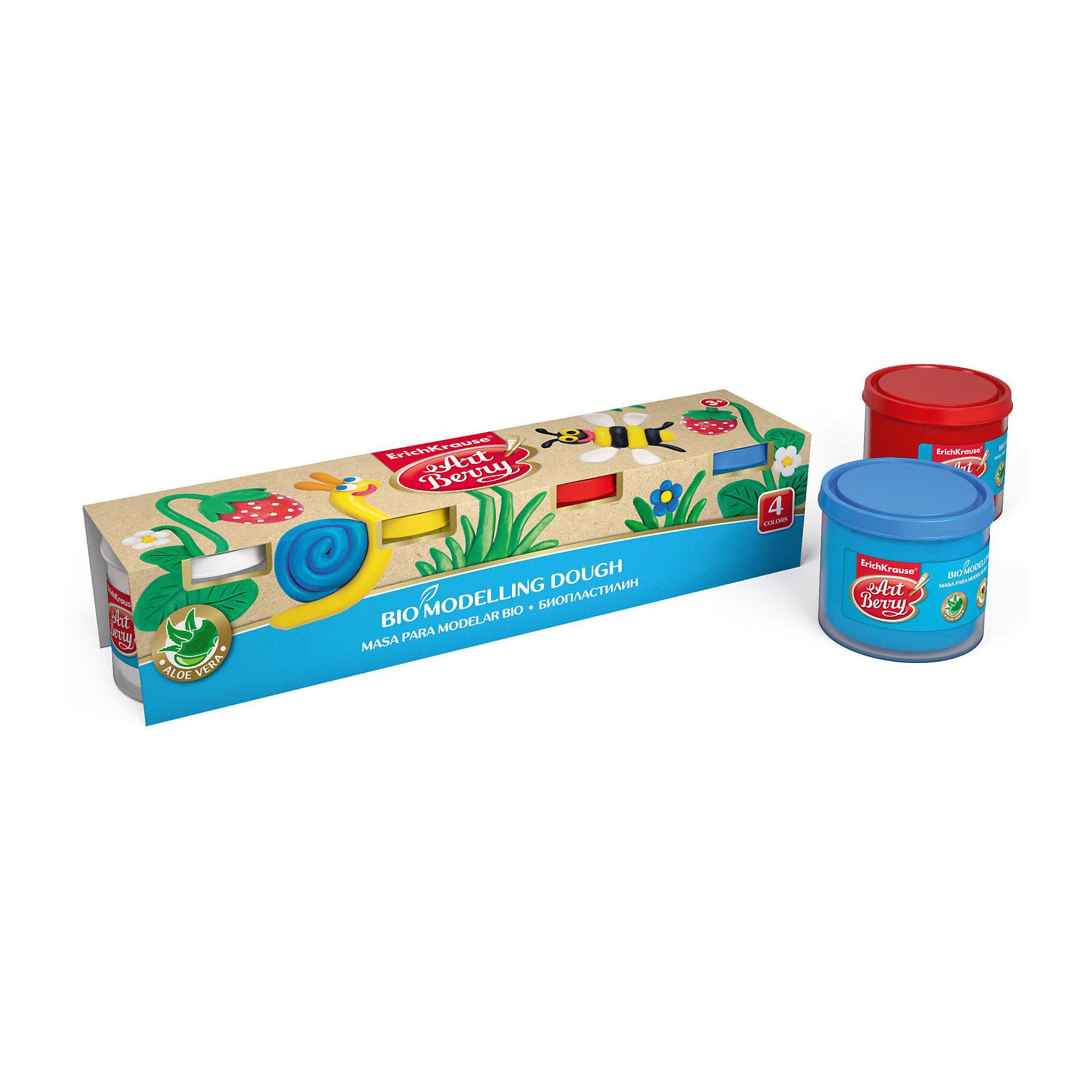 Биопластилин ArtBerry с Алоэ Вера, 4 цвета по 100гЛепка<br>Характеристики товара:<br><br>• материал упаковки: картон<br>• количество цветов: 4<br>• вес каждой баночки: 100 гр<br>• возраст: от 5 лет<br>• габариты упаковки: 26х5,5х5,7 см<br>• вес: 503 г<br>• страна производитель: Россия<br><br>Биопластилин – уникальный в своей сфере материал для детского творчества. Быстро и легко разогревается, приятный для лепки и прочный после засыхания. Наличие в составе Алоэ Вера ухаживает за детской кожей и не дает ей пересыхать во время работы с пластилином.<br><br>Биопластилин ArtBerry с Алоэ Вера, 4 цвета по 100г можно купить в нашем интернет-магазине.<br><br>Ширина мм: 260<br>Глубина мм: 55<br>Высота мм: 57<br>Вес г: 503<br>Возраст от месяцев: 36<br>Возраст до месяцев: 2147483647<br>Пол: Унисекс<br>Возраст: Детский<br>SKU: 5409321