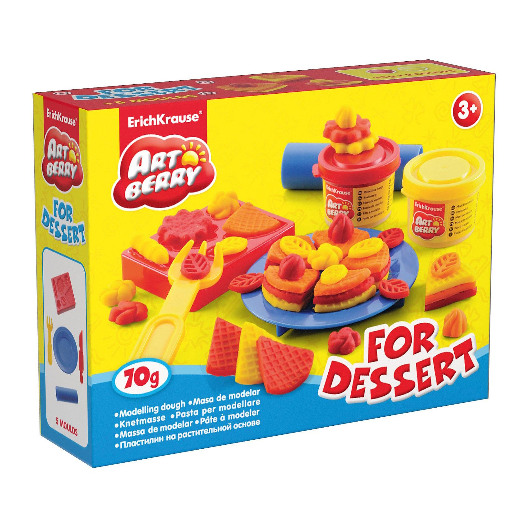 Набор для лепки: Пластилин на растительной основе For Dessert 2 цвета по 35гЛепка<br>Состав: 2 цвета пластилина по 35 г + форма-трафарет для лепки, тарелка, вилка, скалка, стек Упаковка: картонная коробка в термоплёнке<br><br>Ширина мм: 155<br>Глубина мм: 115<br>Высота мм: 40<br>Вес г: 177<br>Возраст от месяцев: 60<br>Возраст до месяцев: 216<br>Пол: Унисекс<br>Возраст: Детский<br>SKU: 5409334