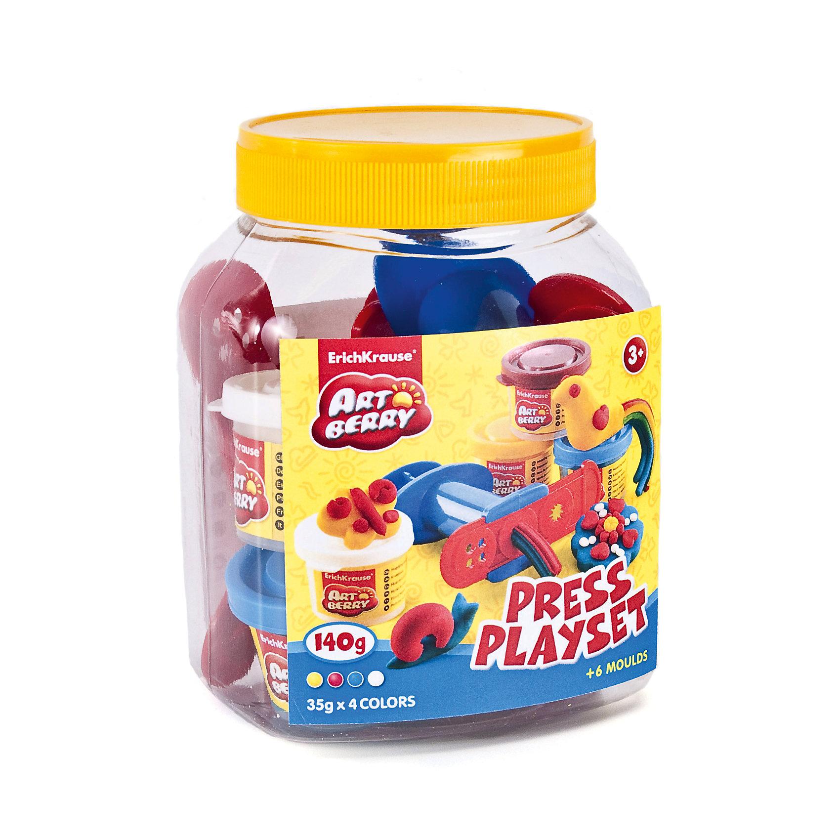 Набор для лепки: Пластилин на растительной основе Press Playset 4 цвета по 35гЛепка<br>Характеристики товара:<br><br>• материал упаковки: картонная коробка в термоплёнке<br>• в комплект входит: 4 цвета пластилина по 35 г + шприц для пластилина, 4 декоративные линейки, стек <br>• возраст: от 3 лет<br>• габариты упаковки: 11х14х10 см<br>• вес: 300 г<br>• страна производитель: Россия<br><br>Натуральная продукция – настоящая находка для детского творчества. Так, пластилин на растительной основе станет любимым материалов для творчества у вашего малыша. Мягкий, приятный для тактильного восприятия, он станет фаворитом среди пластилинов у малыша.<br><br>Набор для лепки: Пластилин на растительной основе Press Playset 4 цвета по 35 г, можно купить в нашем интернет-магазине.<br><br>Ширина мм: 110<br>Глубина мм: 140<br>Высота мм: 95<br>Вес г: 308<br>Возраст от месяцев: 36<br>Возраст до месяцев: 2147483647<br>Пол: Унисекс<br>Возраст: Детский<br>SKU: 5409338