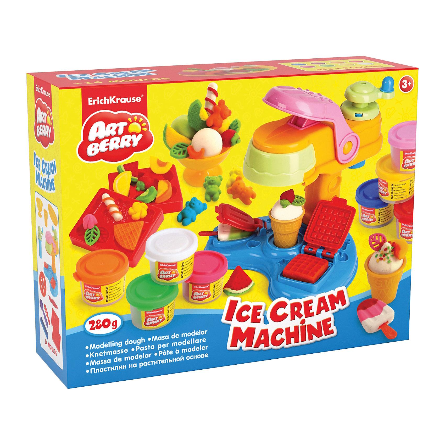 Набор для лепки: Пластилин на растительной основе Ice Cream Machine 8 цветов по 35гСостав: 8 цветов пластилина по 35 г + машина для мороженого, 2 формы-трафарета, 2 вафельных стаканчика, скалка, стек, 2 палочки, 2 тарелки, ложка, фигурная насадка, мельница. Упаковка: картонная коробка в термоплёнке<br><br>Ширина мм: 355<br>Глубина мм: 275<br>Высота мм: 117<br>Вес г: 1100<br>Возраст от месяцев: 60<br>Возраст до месяцев: 216<br>Пол: Унисекс<br>Возраст: Детский<br>SKU: 5409339