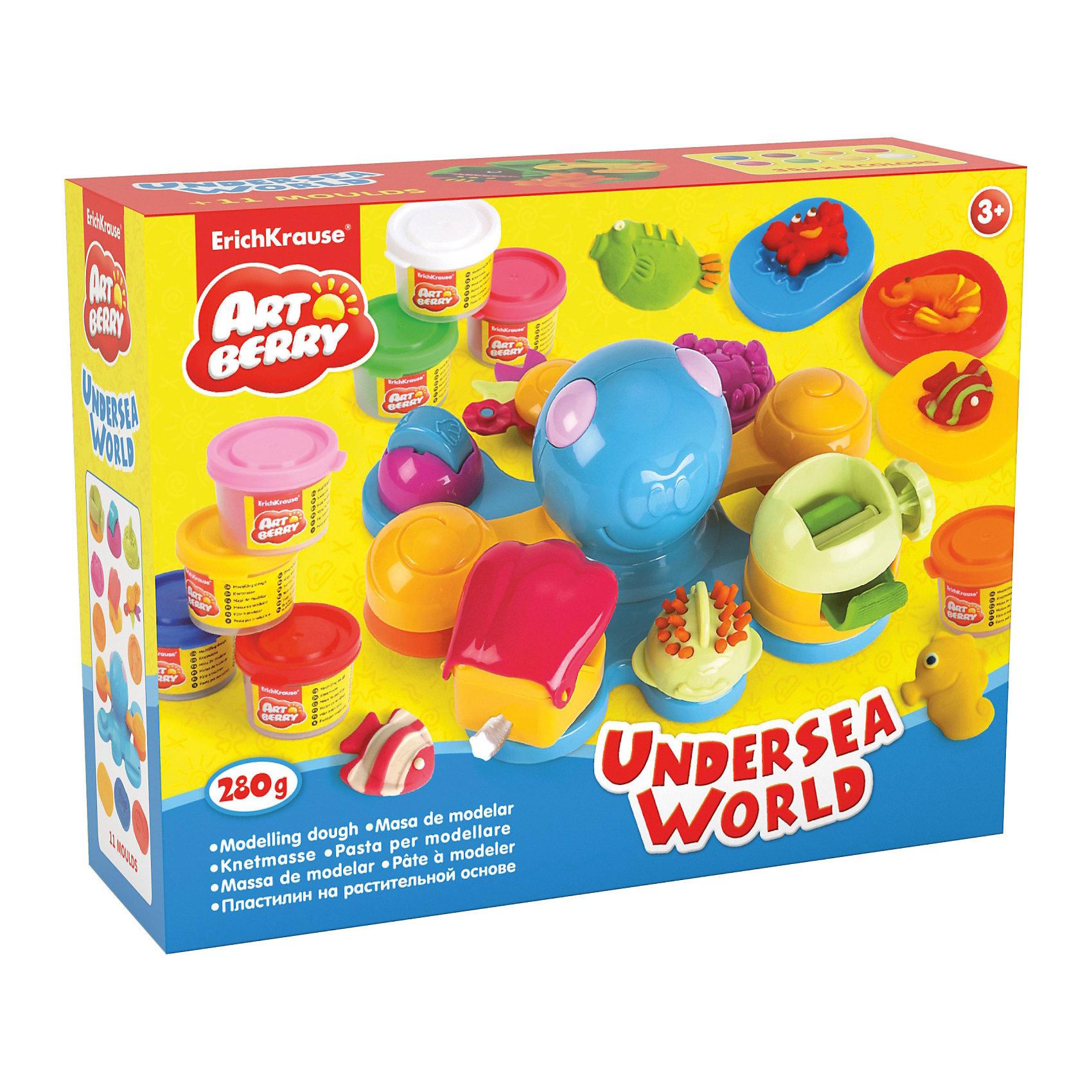 Набор для лепки: Пластилин на растительной основе Undersea World 8 цветов по 35гЛепка<br>Состав: 8 цветов пластилина по 35 г + осьминог - игрушка, 3 объемных формочки, фигурный нож, насадка-штамп, насадка-валик, насадка-рыбка, насадка-крабик, насадка-пресс. Упаковка: картонная коробка в термоплёнке<br><br>Ширина мм: 355<br>Глубина мм: 275<br>Высота мм: 117<br>Вес г: 1166<br>Возраст от месяцев: 60<br>Возраст до месяцев: 216<br>Пол: Унисекс<br>Возраст: Детский<br>SKU: 5409340
