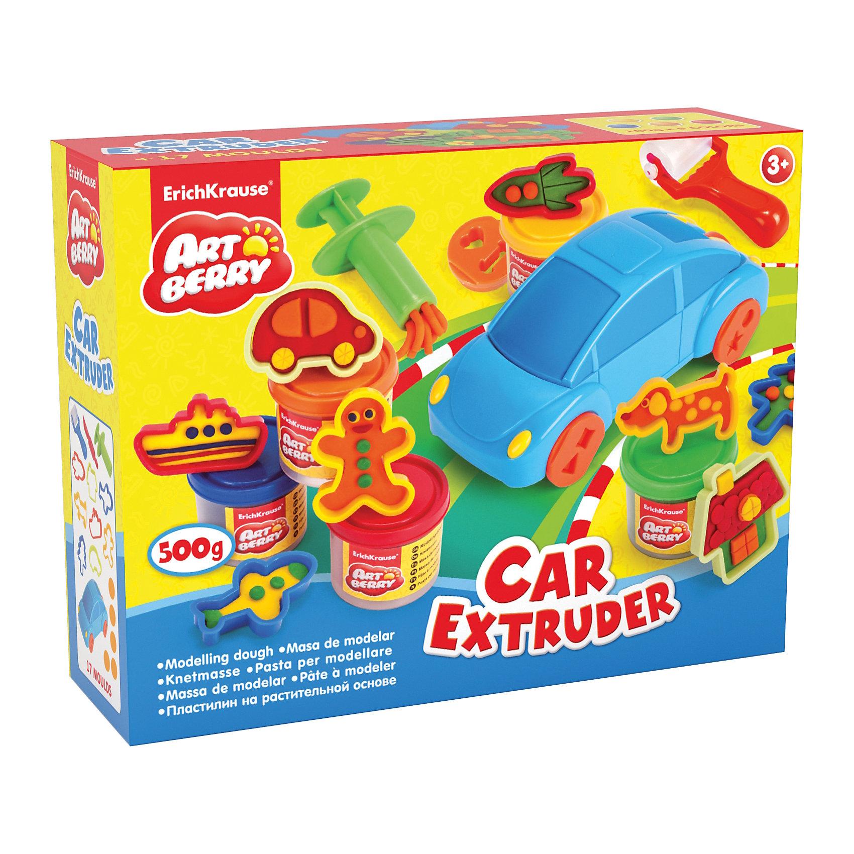 Набор для лепки: Пластилин на растительной основе Car Extruder 5 цвета по 100гСостав: 5 цветов пластилина по 100 г + машинка-экструдер, 5 фигурных насадок-колес, скалка, стек, 8 формочек для лепки, шприц. Упаковка: картонная коробка в термоплёнке<br><br>Ширина мм: 355<br>Глубина мм: 275<br>Высота мм: 117<br>Вес г: 1248<br>Возраст от месяцев: 60<br>Возраст до месяцев: 216<br>Пол: Унисекс<br>Возраст: Детский<br>SKU: 5409341