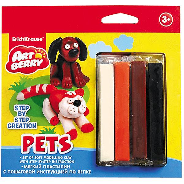 Пластилин мягкий 4цв+инструкция Pets Step-by-step Сreation ArtberryРисование и лепка<br>Пластилин мягкий 4цв+инструкция Pets Step-by-step Сreation Artberry<br><br>Характеристики:<br><br>• В набор входит: 4 брусочка пластилина, инструкция<br>• Размер упаковки: 16,5 * 1,5 * 16 см.<br>• Вес: 97 г.<br>• Для детей в возрасте: от 3-х лет<br>• Страна производитель: Китай<br><br>Серия ArtBerry (Артберри) отличается натуральностью своих компонентов и повышенной безопасностью состава продукции специально для дошкольников. Пластилин этой серии изготовлен на основе кукурузного крахмала, легко разминается и не застывает на воздухе, в состав также входит вазелиновое масло, ухаживающее за ручками. <br><br>В этом наборе предлагается вылепить домашних животных. Благодаря пошаговой инструкции ребёнок сможет вылепить двухцветную кошку и двухцветную собаку, в набор входят нужные для лепки цвета. Занимаясь лепкой дети развивают моторику рук, творческие способности, восприятие цветов и их сочетаний, а также лепка благотворно влияет на развитие речи, координацию движений, память и логическое мышление. Лепка всей семьей поможет весело и пользой провести время!<br><br>Пластилин мягкий 4цв+инструкция Pets Step-by-step Сreation Artberry можно купить в нашем интернет-магазине.<br>Ширина мм: 165; Глубина мм: 160; Высота мм: 15; Вес г: 97; Возраст от месяцев: 60; Возраст до месяцев: 216; Пол: Унисекс; Возраст: Детский; SKU: 5409342;