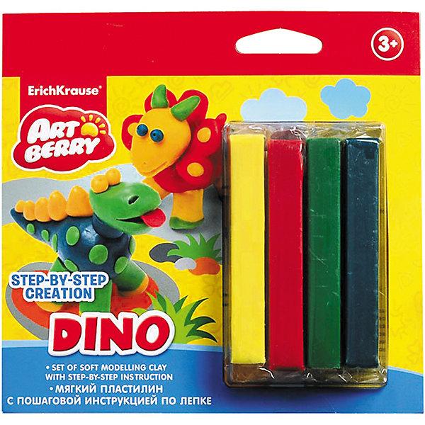 Пластилин мягкий 4цв+инструкция Dino Step-by-step Сreation ArtberryРисование и лепка<br>Пластилин мягкий 4цв+инструкция Dino Step-by-step Сreation Artberry<br><br>Характеристики:<br><br>• В набор входит: 4 брусочка пластилина, инструкция<br>• Размер упаковки: 16,5 * 1,5 * 16 см.<br>• Вес: 97 г.<br>• Для детей в возрасте: от 3-х лет<br>• Страна производитель: Китай<br><br>Серия ArtBerry (Артберри) отличается натуральностью своих компонентов и повышенной безопасностью состава продукции специально для дошкольников. Пластилин этой серии изготовлен на основе кукурузного крахмала, легко разминается и не застывает на воздухе, в состав также входит вазелиновое масло, ухаживающее за ручками. <br><br>В этом наборе предлагается вылепить динозавров. Благодаря пошаговой инструкции ребёнок без труда сможет вылепить двух оригинальных разноцветных динозавров, в набор входят нужные для лепки цвета, некоторые из них нужно будет смешать. Занимаясь лепкой дети развивают моторику рук, творческие способности, восприятие цветов и их сочетаний, а также лепка благотворно влияет на развитие речи, координацию движений, память и логическое мышление. Лепка всей семьей поможет весело и пользой провести время!<br><br>Пластилин мягкий 4цв+инструкция Dino Step-by-step Сreation Artberry можно купить в нашем интернет-магазине.<br>Ширина мм: 165; Глубина мм: 160; Высота мм: 15; Вес г: 97; Возраст от месяцев: 60; Возраст до месяцев: 216; Пол: Унисекс; Возраст: Детский; SKU: 5409343;