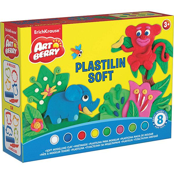 Пластилин мягкий Artberry по Funny Shapes 8 цветов по 15гРисование и лепка<br>Пластилин мягкий Artberry по Funny Shapes 8 цветов по 15г<br><br>Характеристики:<br><br>• В набор входит: 8 брусочков пластилина, 4 формочки, ножичек, трубочка, инструкция<br>• Размер упаковки: 16 * 4 * 12 см.<br>• Вес: 204 г.<br>• Для детей в возрасте: от 3-х лет<br>• Страна производитель: Китай<br><br>Пластилин этой серии изготовлен на основе кукурузного крахмала, легко разминается и не застывает на воздухе, в состав также входит вазелиновое масло, ухаживающее за ручками. Этот набор включает в себя целых восемь ярких цветов, которые позволят вылепить любой шедевр. Кроме того, в набор входят четыре формочки с растениями или животными (заранее выбрать нельзя). <br><br>С помощью безопасного ножичка вы сможете отрезать кусочки и вырезать детали животных и растений, а благодаря трубочке можно будет раскатывать пластилин как тесто. Занимаясь лепкой дети развивают моторику рук, творческие способности, восприятие цветов и их сочетаний, а также лепка благотворно влияет на развитие речи, координацию движений, память и логическое мышление. Лепка всей семьей поможет весело и пользой провести время!<br><br>Пластилин мягкий Artberry по Funny Shapes 8 цветов по 15г можно купить в нашем интернет-магазине.<br><br>Ширина мм: 158<br>Глубина мм: 117<br>Высота мм: 40<br>Вес г: 204<br>Возраст от месяцев: 60<br>Возраст до месяцев: 216<br>Пол: Унисекс<br>Возраст: Детский<br>SKU: 5409345