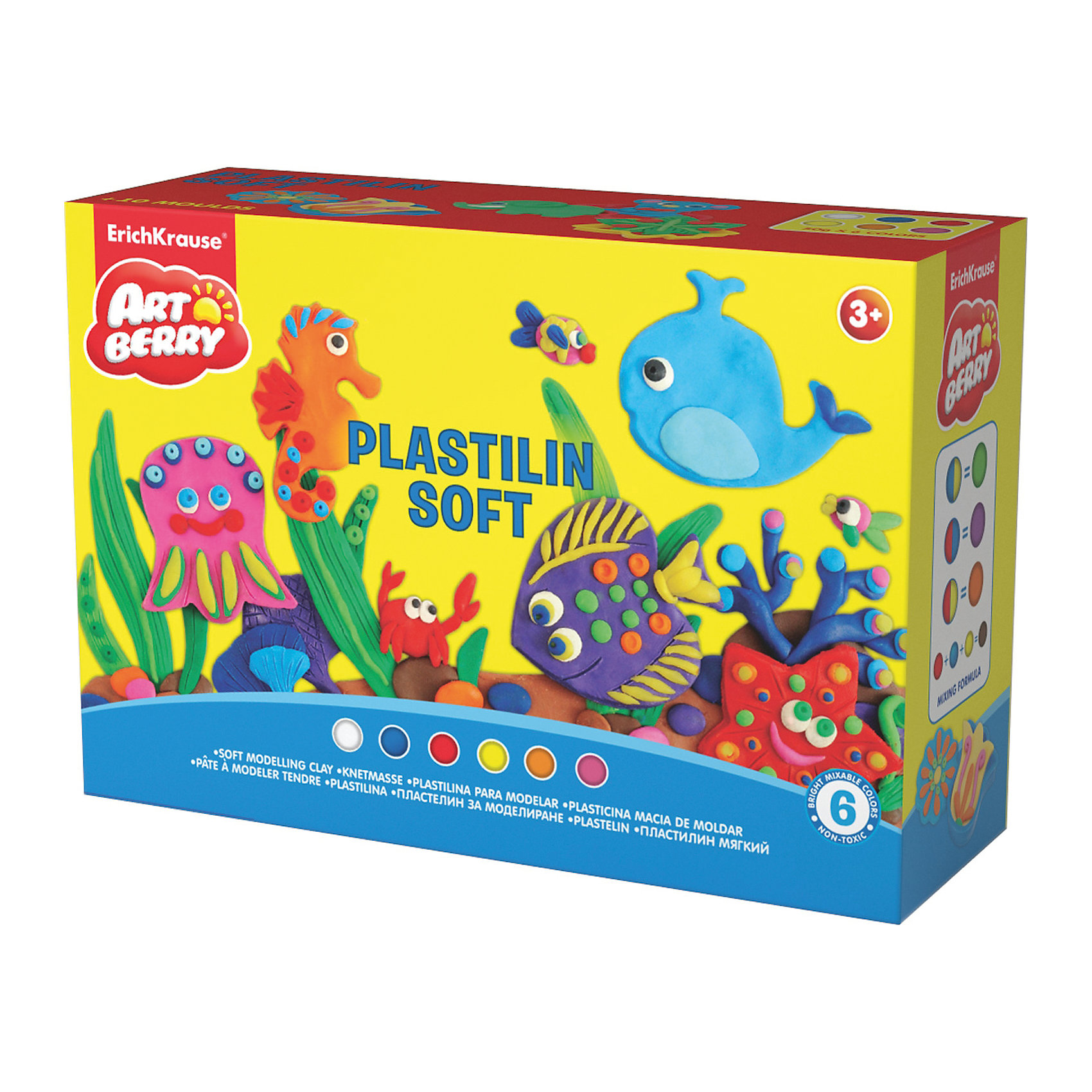 Пластилин мягкий Artberry по Play in Clay 6 цветов по 50гРисование и лепка<br>Пластилин мягкий Artberry по Play in Clay 6 цветов по 50г.<br><br>Характеристики:<br><br>• В набор входит: 6 брусочков пластилина, 8 формочек, ножичек, валик, инструкция<br>• Размер упаковки: 22,5 * 8 * 15,5 см.<br>• Вес: 577 г.<br>• Для детей в возрасте: от 3-х лет<br>• Страна производитель: Китай<br><br>Пластилин этой серии изготовлен на основе кукурузного крахмала, легко разминается и не застывает на воздухе, в состав также входит вазелиновое масло, ухаживающее за ручками. Этот набор включает в себя шесть ярких цветов, которые позволят вылепить любой шедевр. Кроме того, в набор входят целых восемь формочек с растениями и животными. <br><br>С помощью безопасного ножичка вы сможете отрезать кусочки и вырезать детали животных и растений, а благодаря валику можно будет раскатывать пластилин как тесто. Занимаясь лепкой дети развивают моторику рук, творческие способности, восприятие цветов и их сочетаний, а также лепка благотворно влияет на развитие речи, координацию движений, память и логическое мышление. Лепка всей семьей поможет весело и пользой провести время!<br><br>Пластилин мягкий Artberry по Play in Clay 6 цветов по 50г. можно купить в нашем интернет-магазине.<br><br>Ширина мм: 226<br>Глубина мм: 155<br>Высота мм: 78<br>Вес г: 577<br>Возраст от месяцев: 60<br>Возраст до месяцев: 216<br>Пол: Унисекс<br>Возраст: Детский<br>SKU: 5409346
