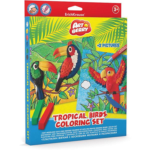 Наборя для творчества Tropical Birds Coloring Set ArtberryНаборы для раскрашивания<br>Характеристики товара:<br><br>• материал упаковки: картон <br>• в комплекте: пластилин – 6 цветов, мелки восковые – 8 цветов, раскраска – 2 шт<br>• возраст: от 3 лет<br>• габариты упаковки: 23х30х25 см<br>• вес: 272 г<br>• страна производитель: Россия<br><br>Набор для творчества включает в себя полезные товары для юных художников. В нем есть раскраски и специальные восковые мелки к ним. А яркий и мягкий пластилин оценят все маленькие скульпторы! <br><br>Набор для творчества Tropical Birds Coloring Set Artberry можно купить в нашем интернет-магазине.<br><br>Ширина мм: 230<br>Глубина мм: 300<br>Высота мм: 25<br>Вес г: 272<br>Возраст от месяцев: 36<br>Возраст до месяцев: 2147483647<br>Пол: Унисекс<br>Возраст: Детский<br>SKU: 5409351