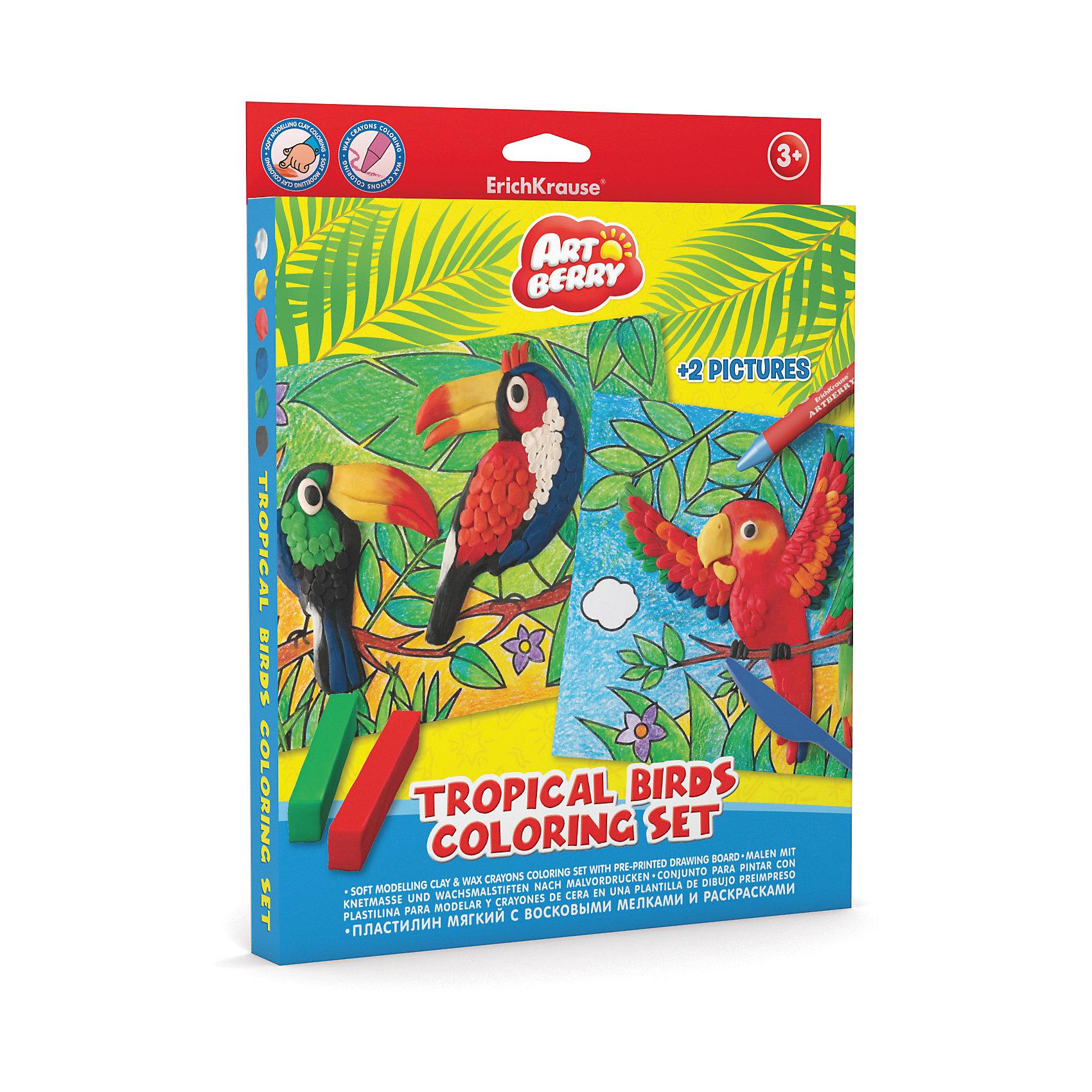 Наборя для творчества Tropical Birds Coloring Set ArtberryЛепка<br>Характеристики товара:<br><br>• материал упаковки: картон <br>• в комплекте: пластилин – 6 цветов, мелки восковые – 8 цветов, раскраска – 2 шт<br>• возраст: от 3 лет<br>• габариты упаковки: 23х30х25 см<br>• вес: 272 г<br>• страна производитель: Россия<br><br>Набор для творчества включает в себя полезные товары для юных художников. В нем есть раскраски и специальные восковые мелки к ним. А яркий и мягкий пластилин оценят все маленькие скульпторы! <br><br>Набор для творчества Tropical Birds Coloring Set Artberry можно купить в нашем интернет-магазине.<br><br>Ширина мм: 230<br>Глубина мм: 300<br>Высота мм: 25<br>Вес г: 272<br>Возраст от месяцев: 36<br>Возраст до месяцев: 2147483647<br>Пол: Унисекс<br>Возраст: Детский<br>SKU: 5409351