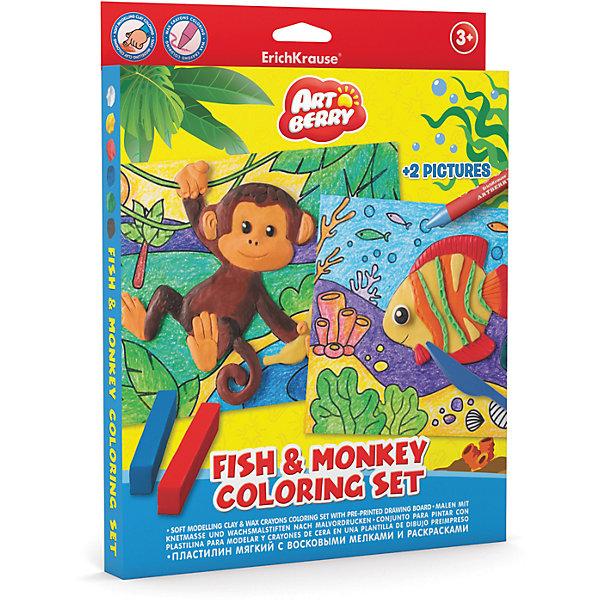 Набор для творчества Fish &amp; Monkey Coloring Set ArtberryНаборы для раскрашивания<br>Характеристики товара:<br><br>• материал упаковки: картон <br>• в комплекте: пластилин – 6 цветов, мелки восковые – 8 цветов, раскраска – 2 шт<br>• возраст: от 3 лет<br>• габариты упаковки: 23х30х25 см<br>• вес: 272 г<br>• страна производитель: Россия<br><br>Набор для творчества включает в себя полезные товары для юных художников. В нем есть раскраски и специальные восковые мелки к ним. А яркий и мягкий пластилин оценят все маленькие скульпторы!<br><br>Набор для творчества Fish &amp; Monkey Coloring Set Artberry можно купить в нашем интернет-магазине.<br><br>Ширина мм: 230<br>Глубина мм: 300<br>Высота мм: 25<br>Вес г: 272<br>Возраст от месяцев: 36<br>Возраст до месяцев: 2147483647<br>Пол: Унисекс<br>Возраст: Детский<br>SKU: 5409352
