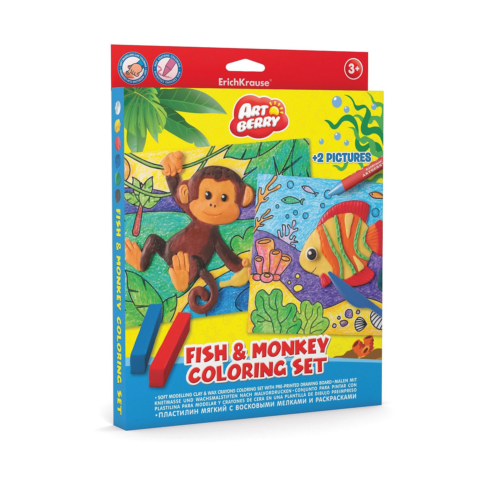 Набор для творчества Fish &amp; Monkey Coloring Set ArtberryРисование<br>Пластилин мягкий 6цв+восковые мелки 8цв+раскраски 2шт Fish &amp; Monkey Coloring Set Artberry<br><br>Ширина мм: 230<br>Глубина мм: 300<br>Высота мм: 25<br>Вес г: 272<br>Возраст от месяцев: 60<br>Возраст до месяцев: 216<br>Пол: Унисекс<br>Возраст: Детский<br>SKU: 5409352