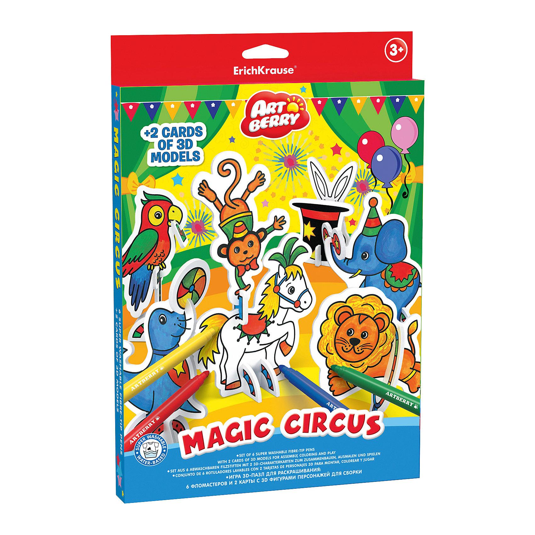 Игровой 3D-пазл для раскрашивания Волшебный цирк, ArtberryРисование<br>Характеристики товара:<br><br>• материал: гофрокартон <br>• в комплекте: модель для сборки и раскрашивания, фломастеры – 6 цветов<br>• возраст: от 3 лет<br>• габариты упаковки: 23х30х2,5 см<br>• вес: 243 г<br>• страна производитель: Россия<br><br>Пазлы в формате 3Д – отличная игрушка для развития мышления и мелкой моторики малыша. Пользу игрушке добавляет возможность раскрашивания готовой модели, которая развивает творческие способности ребенка. Все необходимое уже включено в набор.<br><br>Игровой 3D-пазл для раскрашивания Волшебный цирк от бренда Artberry можно купить в нашем интернет-магазине.<br><br>Ширина мм: 230<br>Глубина мм: 300<br>Высота мм: 25<br>Вес г: 243<br>Возраст от месяцев: 36<br>Возраст до месяцев: 2147483647<br>Пол: Унисекс<br>Возраст: Детский<br>SKU: 5409354
