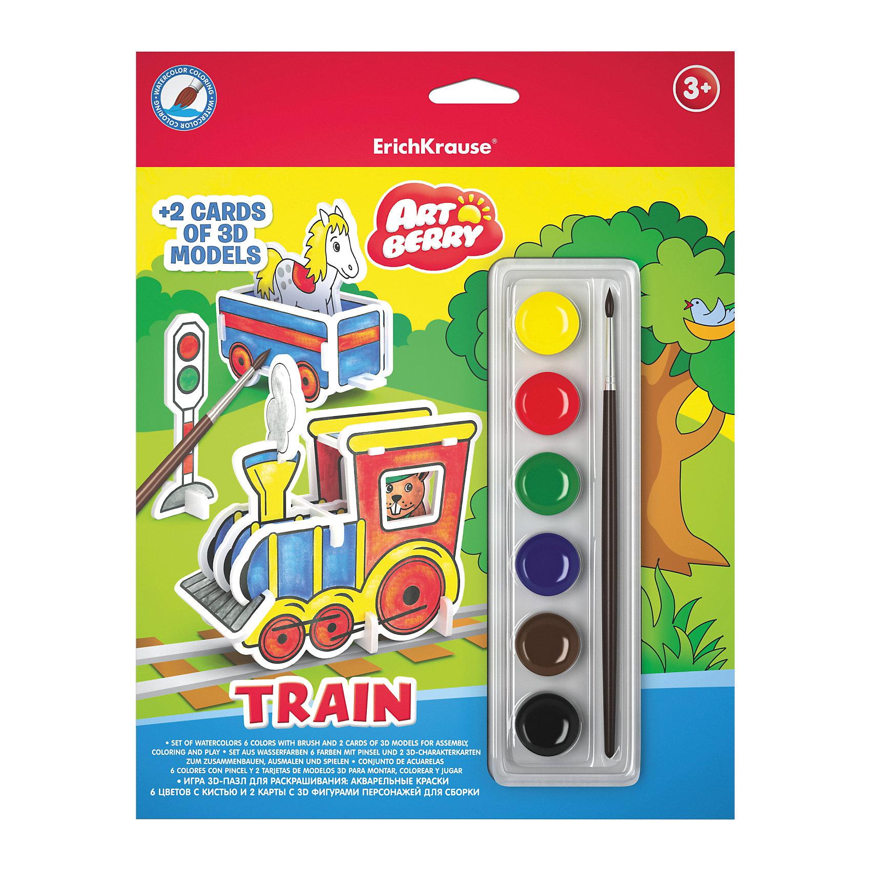 Игровой 3D-пазл для раскрашивания Поезд, ArtberryИгровой 3D пазл для раскрашивания Artberry/Train(краски акварельные 6цв+2 карты с фигур д/сборки)<br><br>Ширина мм: 230<br>Глубина мм: 300<br>Высота мм: 25<br>Вес г: 162<br>Возраст от месяцев: 60<br>Возраст до месяцев: 216<br>Пол: Унисекс<br>Возраст: Детский<br>SKU: 5409358