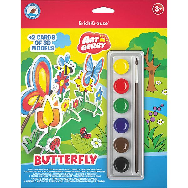 Игровой 3D-пазл для раскрашивания Бабочка, ArtberryНаборы для раскрашивания<br>Характеристики товара:<br><br>• материал: гофрокартон <br>• в комплекте: модель для сборки и раскрашивания, краски акварельные – 6 цветов<br>• возраст: от 3 лет<br>• габариты упаковки: 23х30х2,5 см<br>• вес: 162 г<br>• страна производитель: Россия<br><br>Пазлы в формате 3Д – отличная игрушка для развития мышления и мелкой моторики малыша. Пользу игрушке добавляет возможность раскрашивания готовой модели, которая развивает творческие способности ребенка. Все необходимое уже включено в набор.<br><br>Игровой 3D-пазл для раскрашивания Бабочка от бренда Artberry можно купить в нашем интернет-магазине.<br><br>Ширина мм: 230<br>Глубина мм: 300<br>Высота мм: 25<br>Вес г: 162<br>Возраст от месяцев: 36<br>Возраст до месяцев: 2147483647<br>Пол: Унисекс<br>Возраст: Детский<br>SKU: 5409360