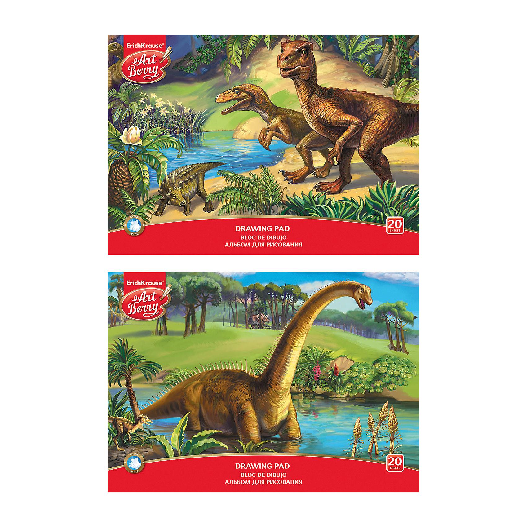 Альбом для рисования А4 20л Эра динозавров, ArtBerryБумажная продукция<br>Альбом для рисования А4 20л Эра динозавров, ArtBerry<br><br>Характеристики:<br><br>• В набор входит: 1 альбом<br>• Количество листов: 20 <br>• Материал: картон мелованный, бумага офсетная 120 г/м<br>• Тип переплёта: склейка<br>• Формат: А4 <br>• Размер упаковки: 29,7 * 0,3 * 21 см.<br>• Вес: 191 г.<br>• Для детей в возрасте: от 3-х лет<br>• Страна производитель: Россия<br><br>Прекрасная обложка с рисунком динозавров будет вдохновлять будущего художника. Производитель предлагает два варианта оформления альбома, к сожалению расцветку нельзя выбрать заранее. Качественная белая бумага отлично подойдёт для рисунков карандашами, фломастерами или восковыми мелками. Проклеенные листы легко вырывать из альбома, оставляя края ровными и аккуратными. Теперь вы всегда можете повесить шедевр вашего ребёнка на холодильник или повесить на стену. <br><br>Альбом для рисования А4 20л Эра динозавров, ArtBerry можно купить в нашем интернет-магазине.<br><br>Ширина мм: 299<br>Глубина мм: 210<br>Высота мм: 3<br>Вес г: 191<br>Возраст от месяцев: 60<br>Возраст до месяцев: 216<br>Пол: Унисекс<br>Возраст: Детский<br>SKU: 5409364