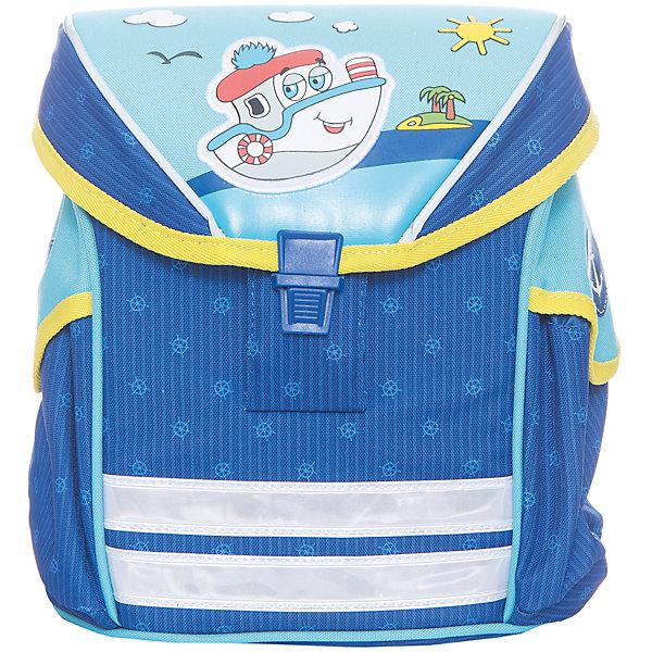 Дошкольный рюкзак Кораблик, модель Funny Ergo, ErichKrauseДетские рюкзаки<br>Характеристики товара:<br><br>• цвет: голубой<br>• материал: текстиль, полиэстер, пластик<br>• возраст: от 3 лет<br>• без наполнения<br>• жесткая вставка в спинке обеспечивает комфортную носку и правильное положение позвоночника;<br>• широкие лямки гарантируют удобную посадку и не натирают плечи;<br>• крышка откидывается полностью, облегчая доступ к содержимому;<br>• пластиковый надежный замок;<br>• лямки регулируются под рост ребенка или одетого в теплую одежду;<br>• просторное внутреннее отделение с небольшим кармашком для мелочей, ключей или телефона;<br>• по бокам 2 больших кармана для бутылочки с водой;<br>• светоотражающие полосы на передней части для видимости в темное время суток<br>• вес: 330 г<br>• размер рюкзака: 25х19х11<br>• страна производитель: Китай<br><br>Модный и вместительный рюкзак – необходимая обновка для нового школьного сезона. Прочная и качественная модель отлично подойдет, чтобы поместить все учебники и тетради. У модели специальная вставка на спине, снижающая нагрузку на позвоночник. Материалы, использованные при изготовлении товаров, проходят проверку на качество и соответствие международным требованиям по безопасности.<br><br>Мини-ранец Кораблик модель Funny Ergo, Artberry можно купить в нашем интернет-магазине.<br>Ширина мм: 230; Глубина мм: 100; Высота мм: 250; Вес г: 476; Возраст от месяцев: 36; Возраст до месяцев: 2147483647; Пол: Мужской; Возраст: Детский; SKU: 5409371;