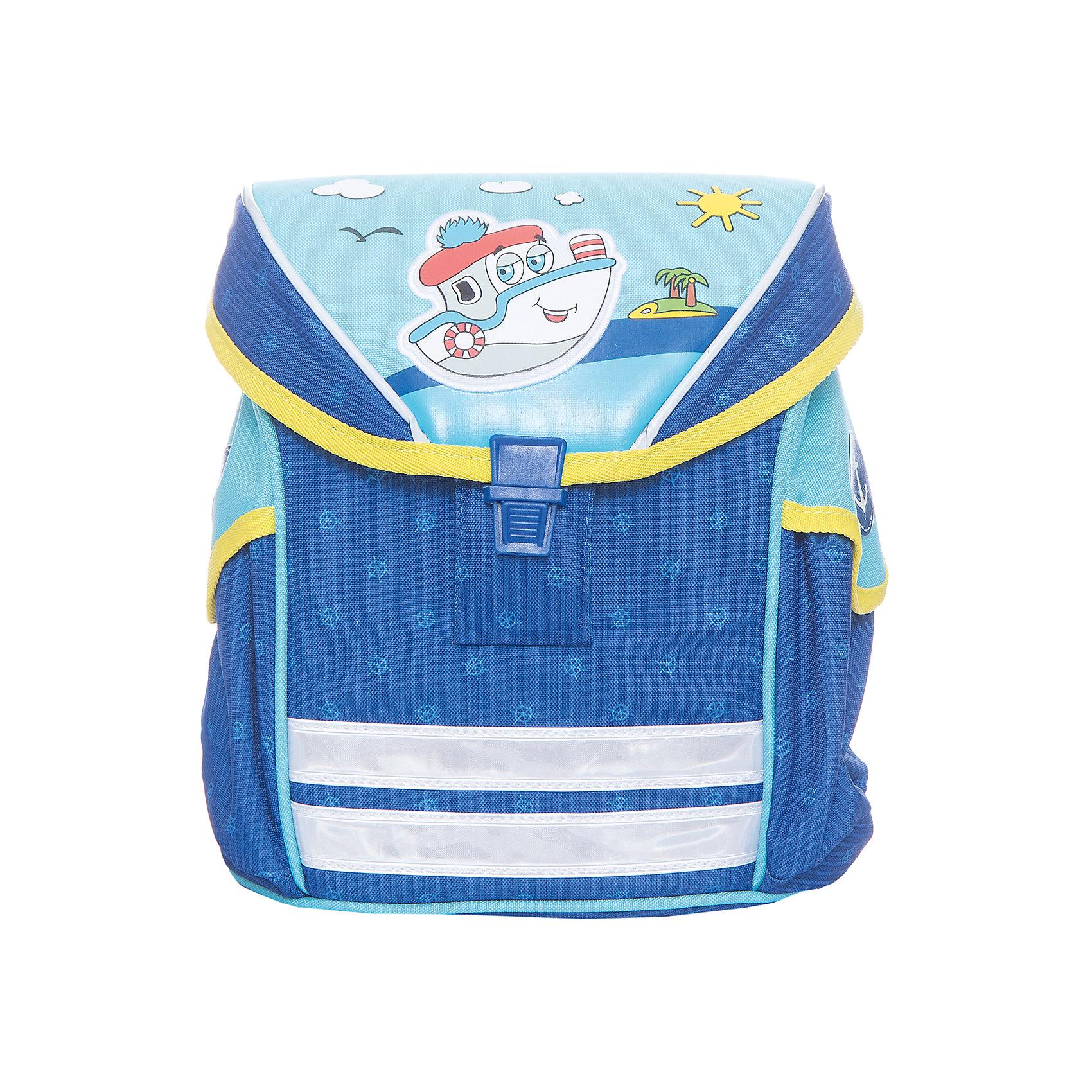 Дошкольный рюкзак Кораблик, модель Funny Ergo, ErichKrauseДетские рюкзаки<br>Характеристики товара:<br><br>• цвет: голубой<br>• материал: текстиль, полиэстер, пластик<br>• возраст: от 3 лет<br>• без наполнения<br>• жесткая вставка в спинке обеспечивает комфортную носку и правильное положение позвоночника;<br>• широкие лямки гарантируют удобную посадку и не натирают плечи;<br>• крышка откидывается полностью, облегчая доступ к содержимому;<br>• пластиковый надежный замок;<br>• лямки регулируются под рост ребенка или одетого в теплую одежду;<br>• просторное внутреннее отделение с небольшим кармашком для мелочей, ключей или телефона;<br>• по бокам 2 больших кармана для бутылочки с водой;<br>• светоотражающие полосы на передней части для видимости в темное время суток<br>• вес: 330 г<br>• размер рюкзака: 25х19х11<br>• страна производитель: Китай<br><br>Модный и вместительный рюкзак – необходимая обновка для нового школьного сезона. Прочная и качественная модель отлично подойдет, чтобы поместить все учебники и тетради. У модели специальная вставка на спине, снижающая нагрузку на позвоночник. Материалы, использованные при изготовлении товаров, проходят проверку на качество и соответствие международным требованиям по безопасности.<br><br>Мини-ранец Кораблик модель Funny Ergo, Artberry можно купить в нашем интернет-магазине.<br><br>Ширина мм: 230<br>Глубина мм: 100<br>Высота мм: 250<br>Вес г: 476<br>Возраст от месяцев: 36<br>Возраст до месяцев: 2147483647<br>Пол: Мужской<br>Возраст: Детский<br>SKU: 5409371
