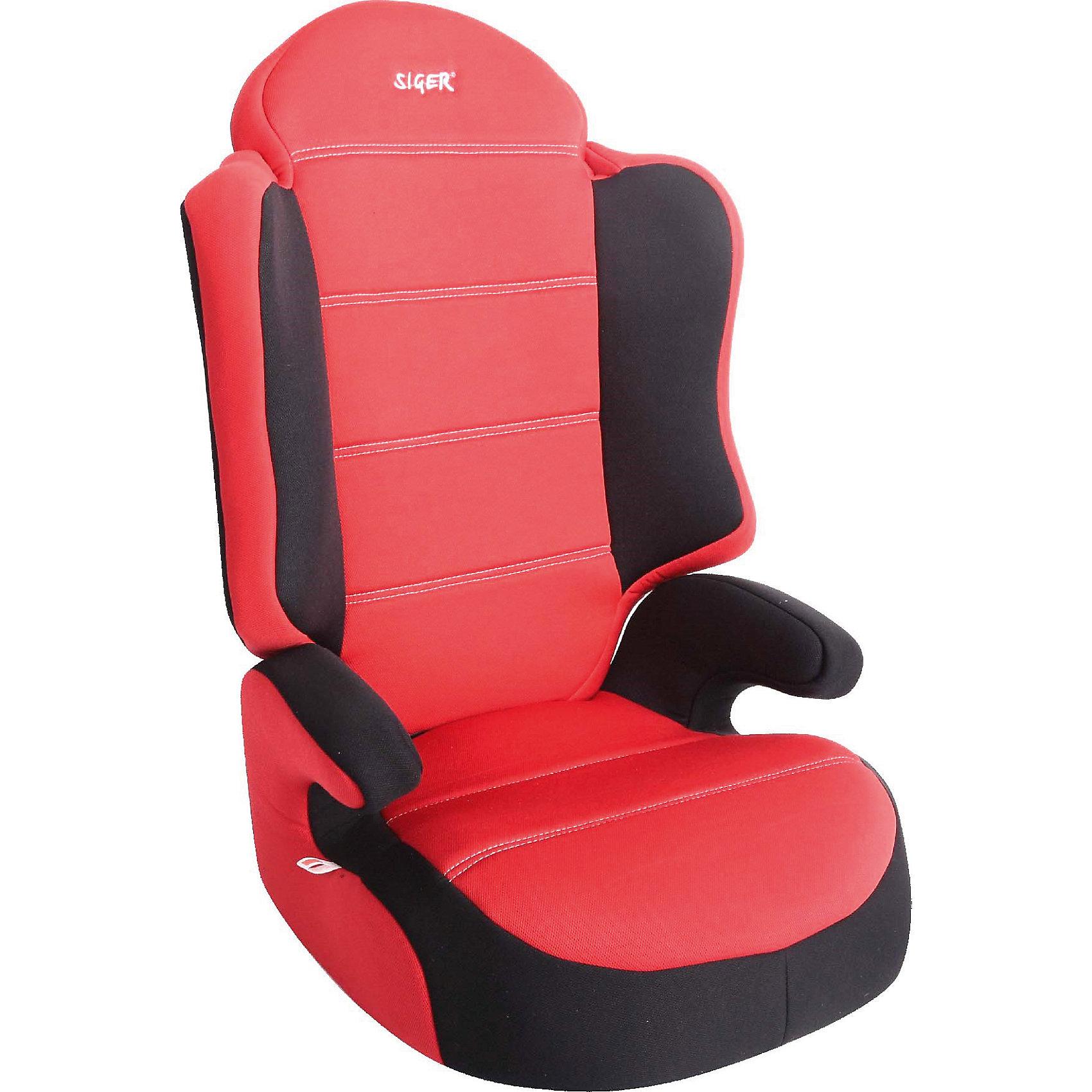 Автокресло Siger Спорт, 15-36 кг, красныйГруппа 2-3 (От 15 до 36 кг)<br>Характеристики:<br><br>• группа: 2/3;<br>• вес ребенка: 15-36 кг;<br>• возраст ребенка: от 3 до 12 лет;<br>• способ крепления: штатный ремень безопасности автомобиля;<br>• способ установки: по ходу движения автомобиля;<br>• усиленный каркас;<br>• округлая форма широкого сиденья;<br>• анатомическая форма кресла;<br>• имеется специальный фиксатор, который контролирует прохождение ремня;<br>• дополнительная защита от боковых ударов;<br>• имеются подлокотники и широкие боковинки;<br>• функция бустера;<br>• чехол снимается и стирается при температуре 30 градусов;<br>• материал: пластик, полиэстер;<br>• размер автокресла: 42х48х58 см;<br>• вес автокресла: 4,4 кг.<br><br>Автокресло группы 2-3 предназначено для детей в возрасте от 3 до 12 лет. В возрасте от 3 до 7 лет кресло используется со спинкой, затем спинка снимается, и ребенок сидит на специальном бустере. Встроенные ремни безопасности отсутствуют, ребенок пристегивается штатным ремнем безопасности автомобиля. <br><br>Автокресло Спорт, 15-36 кг., SIGER, цвет красный можно купить в нашем интернет-магазине.<br><br>Ширина мм: 440<br>Глубина мм: 420<br>Высота мм: 800<br>Вес г: 3800<br>Возраст от месяцев: 36<br>Возраст до месяцев: 144<br>Пол: Унисекс<br>Возраст: Детский<br>SKU: 5409372