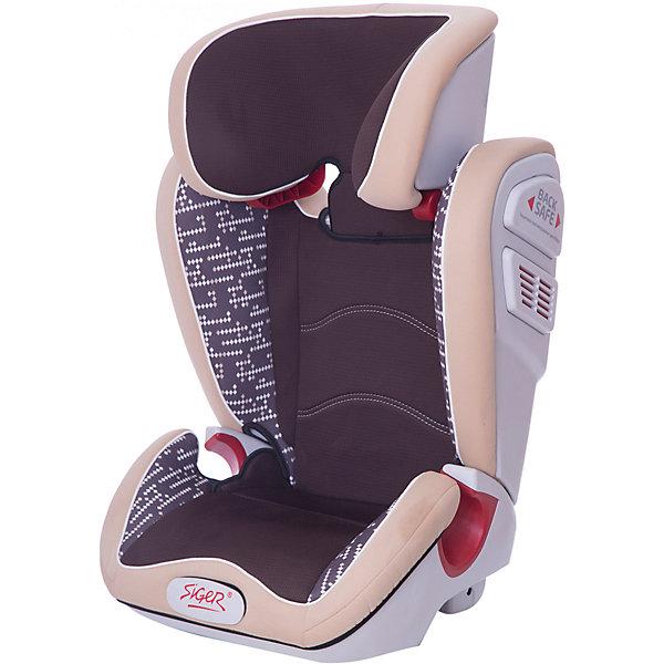 Автокресло Siger Олимп Art 15-36 кг, коричневый ромбГруппа 2-3  (от 15 до 36 кг)<br>Характеристики:<br><br>• группа: 2/3;<br>• вес ребенка: 15-36 кг;<br>• возраст ребенка: от 3 до 12 лет;<br>• способ крепления: штатный ремень безопасности автомобиля;<br>• способ установки: по ходу движения автомобиля;<br>• усиленный каркас;<br>• подголовник регулируется по высоте;<br>• анатомическая форма кресла;<br>• посадочное место увеличено;<br>• имеется специальный фиксатор, который контролирует прохождение ремня;<br>• дополнительная защита от боковых ударов;<br>• перфорированная ткань в области спины;<br>• чехол снимается и стирается при температуре 30 градусов;<br>• материал: пластик, полиэстер;<br>• размер автокресла: 43,3х51,7х63,4 см;<br>• вес автокресла: 7,8 кг.<br><br>Автокресло группы 2-3 предназначено для детей в возрасте от 3 до 12 лет. Автокресло устанавливается на заднем сидении автомобиля лицом по ходу движения или на переднем сидении с обязательным условием – отключенной подушкой безопасности. <br><br>Автокресло Олимп Art 15-36 кг., SIGER, коричневый ромб можно купить в нашем интернет-магазине.<br>Ширина мм: 430; Глубина мм: 511; Высота мм: 631; Вес г: 7800; Возраст от месяцев: 36; Возраст до месяцев: 144; Пол: Унисекс; Возраст: Детский; SKU: 5409375;