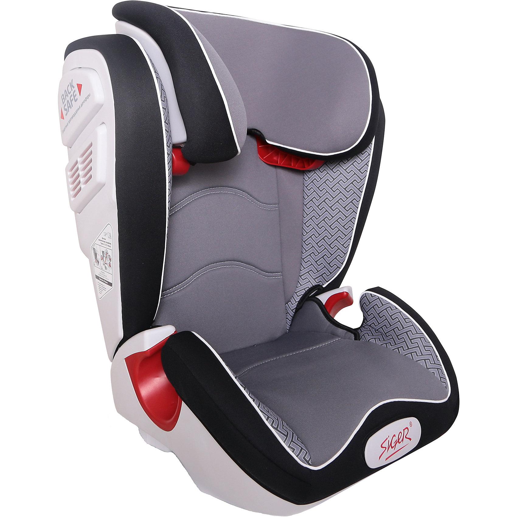 Автокресло Siger Олимп Art 15-36 кг, серый лабиринтГруппа 2-3 (От 15 до 36 кг)<br>Характеристики:<br><br>• группа: 2/3;<br>• вес ребенка: 15-36 кг;<br>• возраст ребенка: от 3 до 12 лет;<br>• способ крепления: штатный ремень безопасности автомобиля;<br>• способ установки: по ходу движения автомобиля;<br>• усиленный каркас;<br>• подголовник регулируется по высоте;<br>• анатомическая форма кресла;<br>• посадочное место увеличено;<br>• имеется специальный фиксатор, который контролирует прохождение ремня;<br>• дополнительная защита от боковых ударов;<br>• перфорированная ткань в области спины;<br>• чехол снимается и стирается при температуре 30 градусов;<br>• материал: пластик, полиэстер;<br>• размер автокресла: 43,3х51,7х63,4 см;<br>• вес автокресла: 7,8 кг.<br><br>Автокресло группы 2-3 предназначено для детей в возрасте от 3 до 12 лет. Автокресло устанавливается на заднем сидении автомобиля лицом по ходу движения или на переднем сидении с обязательным условием – отключенной подушкой безопасности. <br><br>Автокресло Олимп Art 15-36 кг., SIGER, серый лабиринт можно купить в нашем интернет-магазине.<br><br>Ширина мм: 430<br>Глубина мм: 511<br>Высота мм: 631<br>Вес г: 7800<br>Возраст от месяцев: 36<br>Возраст до месяцев: 144<br>Пол: Унисекс<br>Возраст: Детский<br>SKU: 5409376