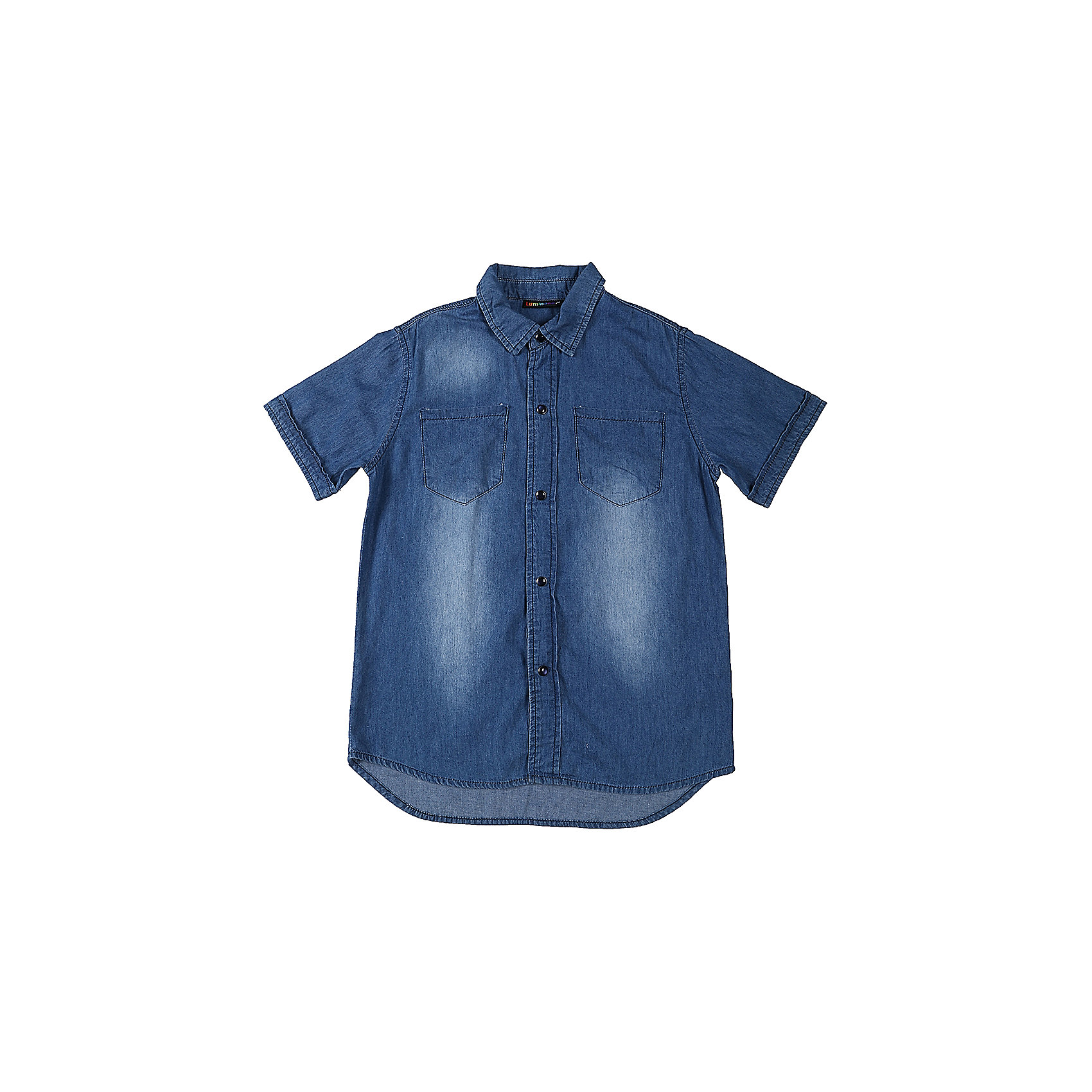 Рубашка джинсовая для мальчика LuminosoДжинсовая одежда<br>Хлопковая рубашка из тонкой ткани под джинсу. Застежка на кнопках. На полочках два накладных карманы. Отложной воротничок.<br>Состав:<br>100%хлопок<br><br>Ширина мм: 174<br>Глубина мм: 10<br>Высота мм: 169<br>Вес г: 157<br>Цвет: синий<br>Возраст от месяцев: 108<br>Возраст до месяцев: 120<br>Пол: Мужской<br>Возраст: Детский<br>Размер: 152,146,140,134,164,158<br>SKU: 5409531
