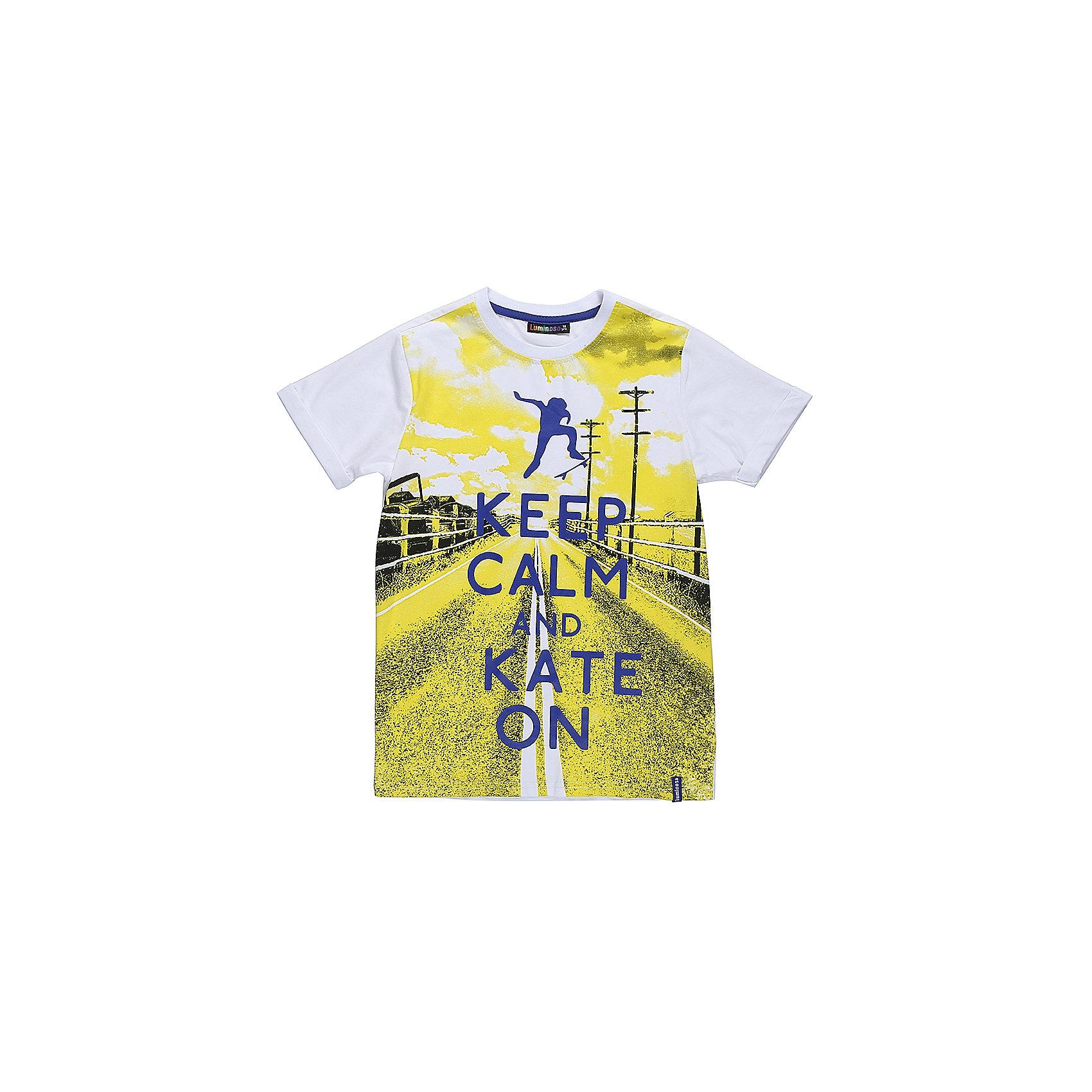 Футболка для мальчика LuminosoФутболки, поло и топы<br>Стильная футболка из трикотажной ткани для мальчика с коротким рукавом. Декорирована ярким принтом<br>Состав:<br>95%хлопок 5%эластан<br><br>Ширина мм: 199<br>Глубина мм: 10<br>Высота мм: 161<br>Вес г: 151<br>Цвет: белый<br>Возраст от месяцев: 108<br>Возраст до месяцев: 120<br>Пол: Мужской<br>Возраст: Детский<br>Размер: 140,134,146,152,158,164<br>SKU: 5409615