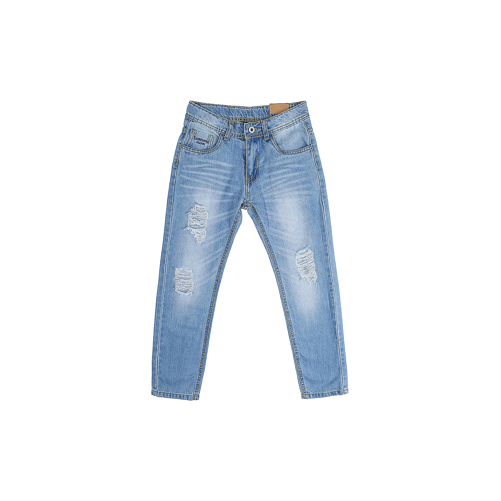 Джинсы для мальчика LuminosoДжинсы  для мальчика с оригинальной варкой. Декорированы  потертости и эффектом рваной джинсы. Зауженный крой, средняя посадка. Застегиваются на молнию и пуговицу. Шлевки на поясе рассчитаны под ремень. В боковой части пояса находятся вшитые эластичные ленты, регулирующие посадку по талии.<br>Состав:<br>100%хлопок<br><br>Ширина мм: 215<br>Глубина мм: 88<br>Высота мм: 191<br>Вес г: 336<br>Цвет: синий<br>Возраст от месяцев: 132<br>Возраст до месяцев: 144<br>Пол: Мужской<br>Возраст: Детский<br>Размер: 152,134,140,146,158,164<br>SKU: 5409678