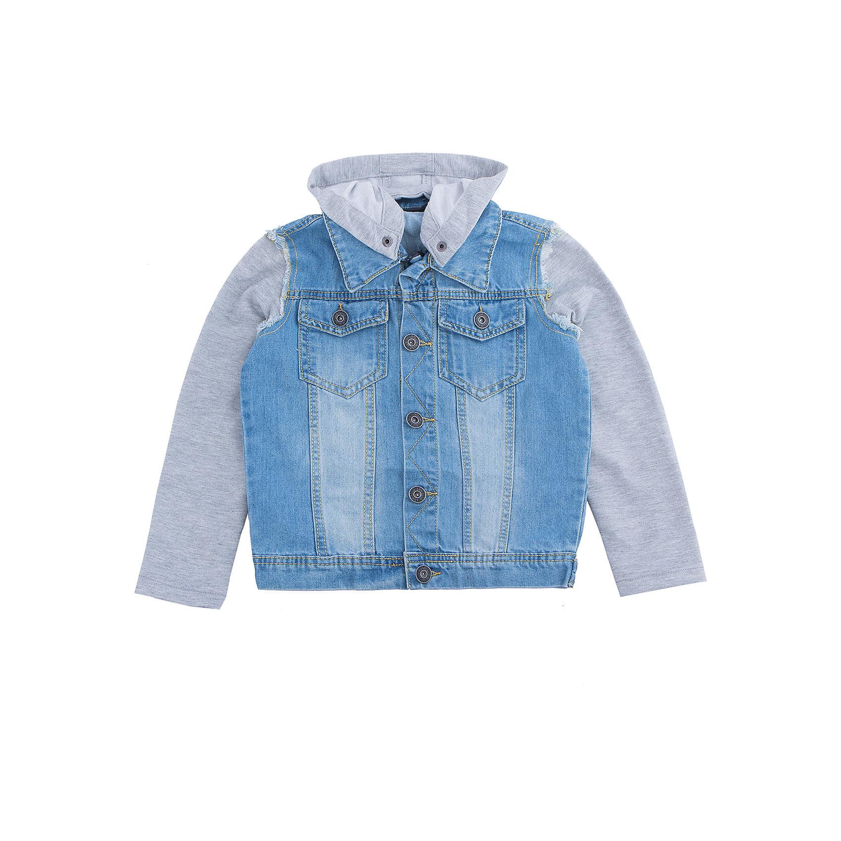 Куртка джинсовая для мальчика LuminosoДжинсовая одежда<br>Джинсовая куртка  для мальчика с оригинальной варкой. Рукава и капюшон  выполнены из трикотажной ткани. Съемный капюшон. Куртка застегивается на пуговицы, спереди два накладных кармана. Воротник отложной.<br>Состав:<br>100%хлопок<br><br>Ширина мм: 356<br>Глубина мм: 10<br>Высота мм: 245<br>Вес г: 519<br>Цвет: голубой<br>Возраст от месяцев: 96<br>Возраст до месяцев: 108<br>Пол: Мужской<br>Возраст: Детский<br>Размер: 134,140,164,158,152,146<br>SKU: 5409699