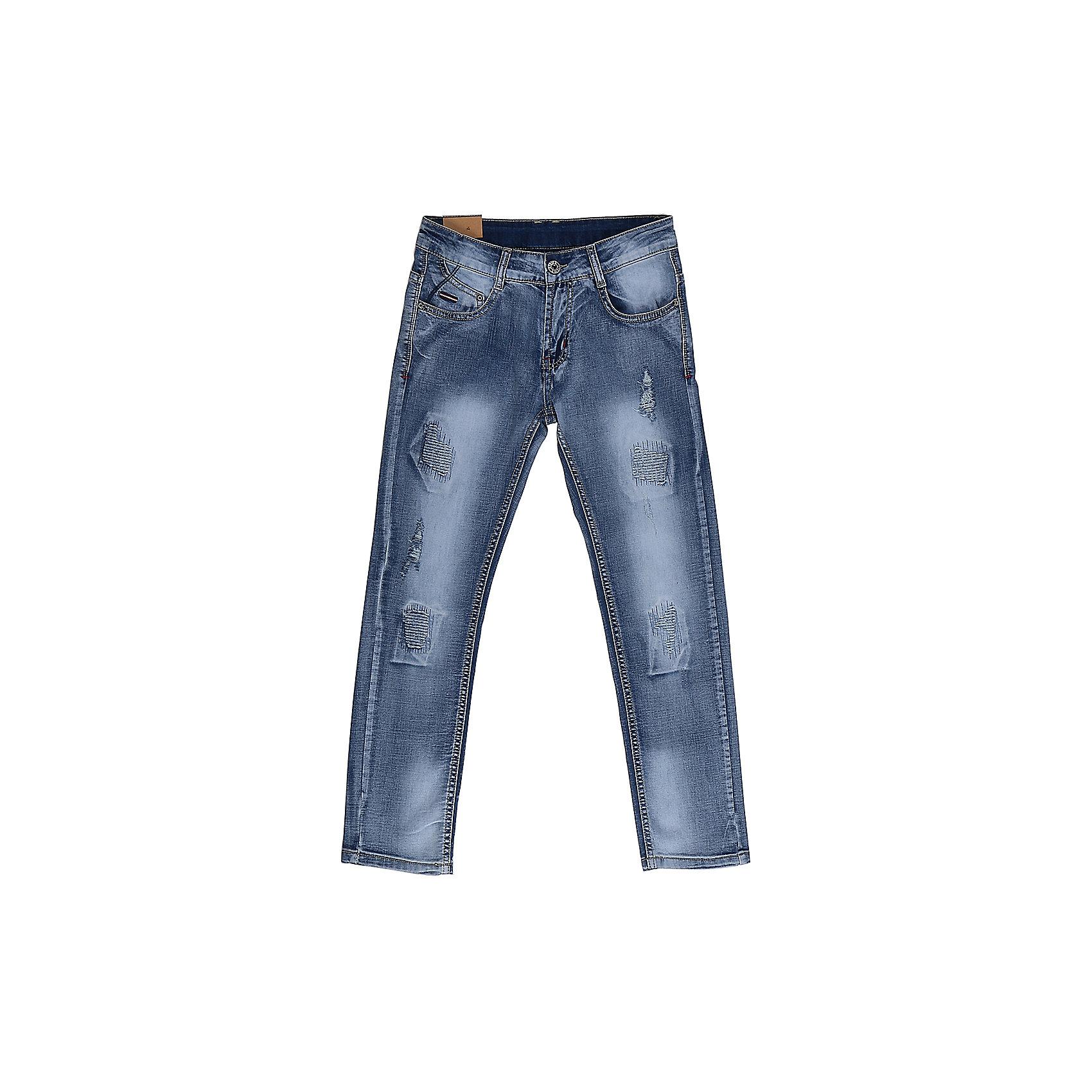 Джинсы для мальчика LuminosoДжинсовая одежда<br>Джинсы  для мальчика с оригинальной варкой. Декорированы  потертости и эффектом рваной джинсы. Зауженный крой, средняя посадка. Застегиваются на молнию и пуговицу. Шлевки на поясе рассчитаны под ремень. В боковой части пояса находятся вшитые эластичные ленты, регулирующие посадку по талии.<br>Состав:<br>98%хлопок 2%эластан<br><br>Ширина мм: 215<br>Глубина мм: 88<br>Высота мм: 191<br>Вес г: 336<br>Цвет: синий<br>Возраст от месяцев: 96<br>Возраст до месяцев: 108<br>Пол: Мужской<br>Возраст: Детский<br>Размер: 134,140,146,152,158,164<br>SKU: 5409723