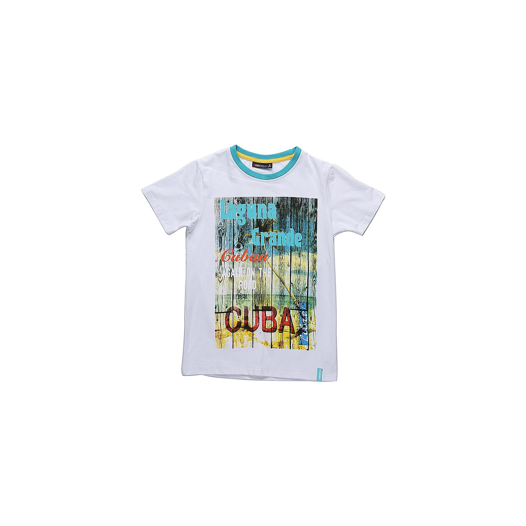 Футболка для мальчика LuminosoСтильная футболка из трикотажной ткани для мальчика с коротким рукавом. Декорирована ярким принтом. Горловина выделена контрастным кантом.<br>Состав:<br>95%хлопок 5%эластан<br><br>Ширина мм: 199<br>Глубина мм: 10<br>Высота мм: 161<br>Вес г: 151<br>Цвет: белый<br>Возраст от месяцев: 96<br>Возраст до месяцев: 108<br>Пол: Мужской<br>Возраст: Детский<br>Размер: 134,140,146,152,158,164<br>SKU: 5409744