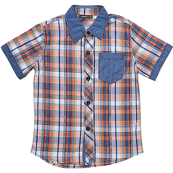 Рубашка для мальчика LuminosoБлузки и рубашки<br>Текстильная рубашка из хлопка в клетку для мальчика. Короткий рукав, накладной карман на левой полочке. Застегивается на кнопки. Отложной воротничок.<br>Состав:<br>100%хлопок<br>Ширина мм: 174; Глубина мм: 10; Высота мм: 169; Вес г: 157; Цвет: синий; Возраст от месяцев: 156; Возраст до месяцев: 168; Пол: Мужской; Возраст: Детский; Размер: 164,140,134,158,152,146; SKU: 5409751;