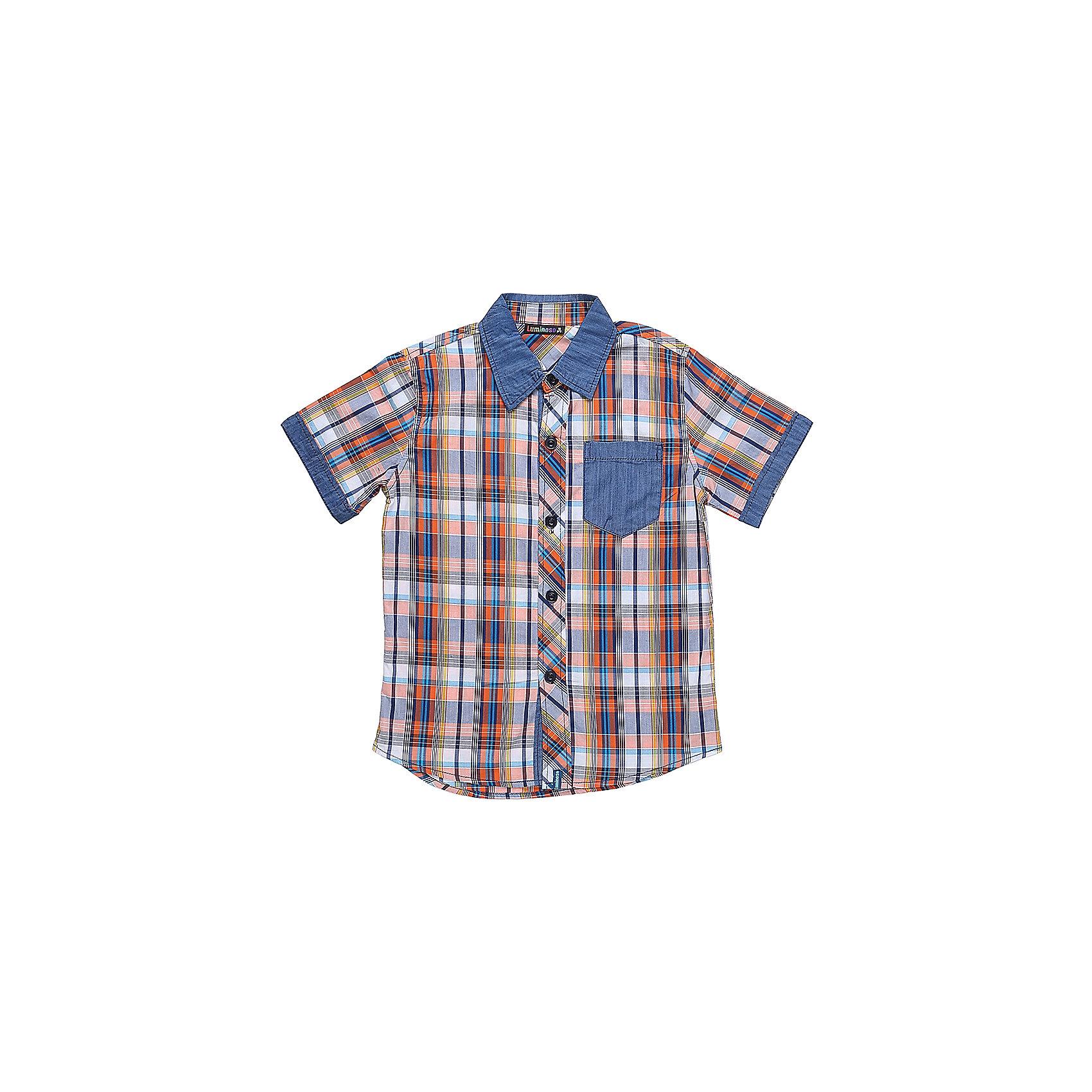 Рубашка для мальчика LuminosoБлузки и рубашки<br>Текстильная рубашка из хлопка в клетку для мальчика. Короткий рукав, накладной карман на левой полочке. Застегивается на кнопки. Отложной воротничок.<br>Состав:<br>100%хлопок<br><br>Ширина мм: 174<br>Глубина мм: 10<br>Высота мм: 169<br>Вес г: 157<br>Цвет: синий<br>Возраст от месяцев: 96<br>Возраст до месяцев: 108<br>Пол: Мужской<br>Возраст: Детский<br>Размер: 158,152,134,164,146,140<br>SKU: 5409751