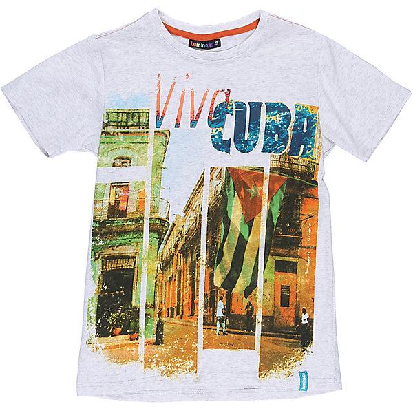 Футболка для мальчика LuminosoФутболки, поло и топы<br>Стильная футболка из трикотажной ткани для мальчика с коротким рукавом. Декорирована ярким принтом<br>Состав:<br>95%хлопок 5%эластан<br><br>Ширина мм: 199<br>Глубина мм: 10<br>Высота мм: 161<br>Вес г: 151<br>Цвет: белый<br>Возраст от месяцев: 108<br>Возраст до месяцев: 120<br>Пол: Мужской<br>Возраст: Детский<br>Размер: 140,134,164,158,152,146<br>SKU: 5409758