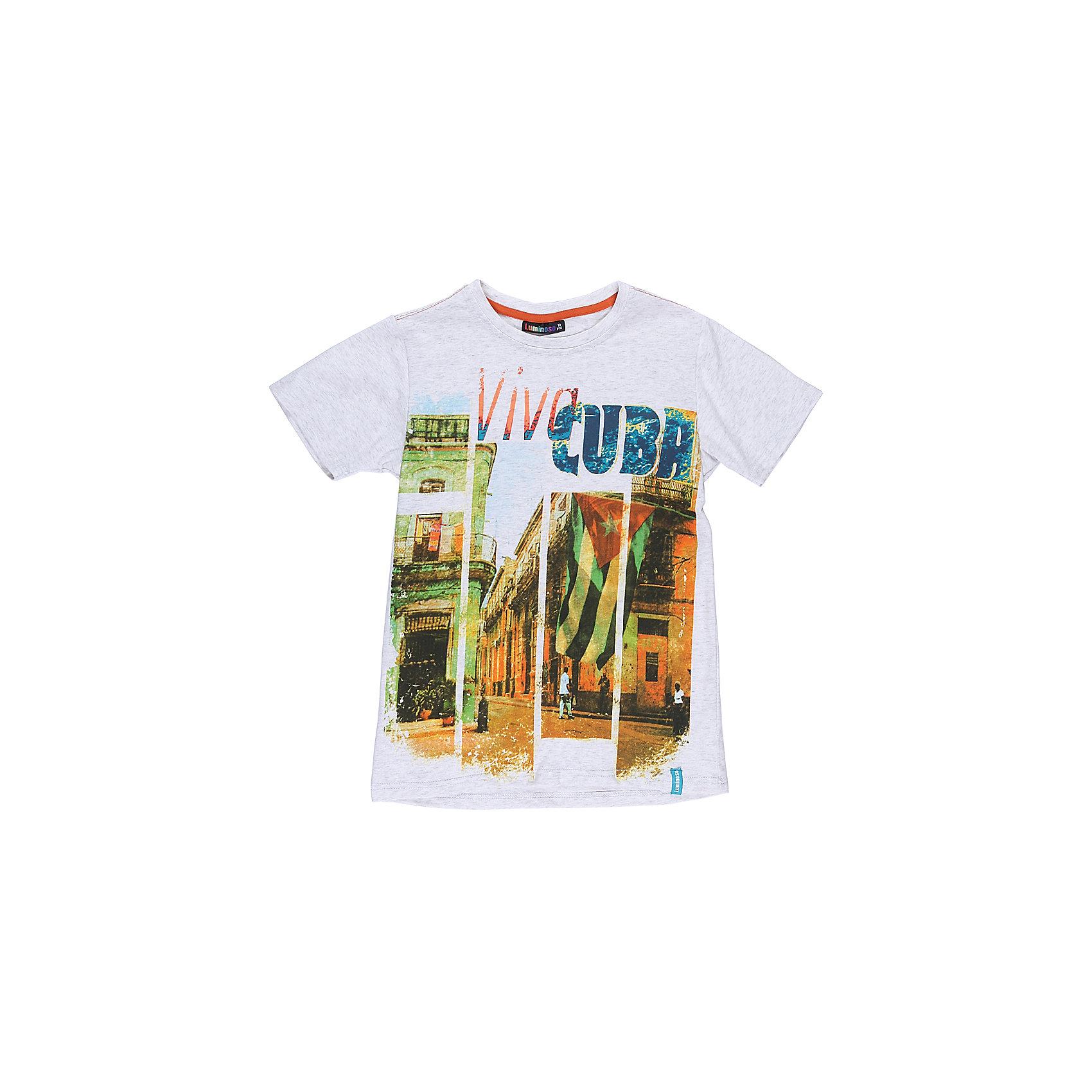 Футболка для мальчика LuminosoФутболки, поло и топы<br>Стильная футболка из трикотажной ткани для мальчика с коротким рукавом. Декорирована ярким принтом<br>Состав:<br>95%хлопок 5%эластан<br><br>Ширина мм: 199<br>Глубина мм: 10<br>Высота мм: 161<br>Вес г: 151<br>Цвет: белый<br>Возраст от месяцев: 96<br>Возраст до месяцев: 108<br>Пол: Мужской<br>Возраст: Детский<br>Размер: 134,140,146,152,158,164<br>SKU: 5409758