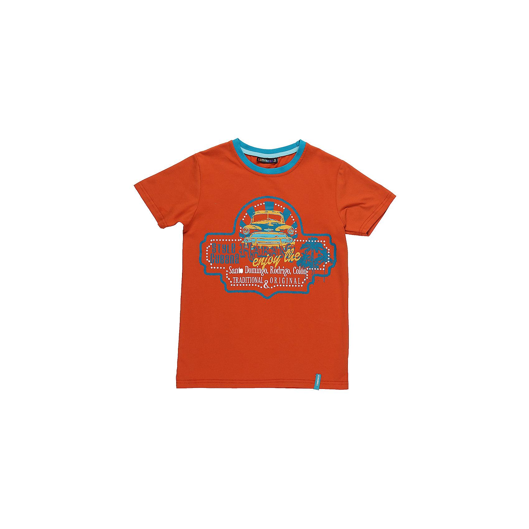 Футболка для мальчика LuminosoСтильная футболка из трикотажной ткани для мальчика с коротким рукавом. Декорирована ярким принтом. Горловина выделена контрастным кантом.<br>Состав:<br>95%хлопок 5%эластан<br><br>Ширина мм: 199<br>Глубина мм: 10<br>Высота мм: 161<br>Вес г: 151<br>Цвет: оранжевый<br>Возраст от месяцев: 96<br>Возраст до месяцев: 108<br>Пол: Мужской<br>Возраст: Детский<br>Размер: 134,140,146,152,158,164<br>SKU: 5409782