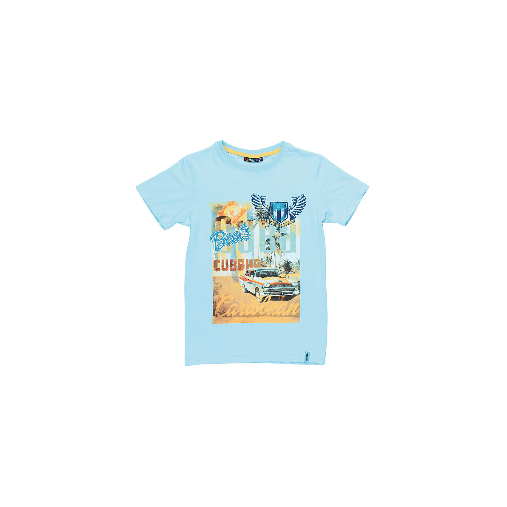 Футболка для мальчика LuminosoФутболки, поло и топы<br>Стильная футболка из трикотажной ткани для мальчика с коротким рукавом. Декорирована ярким принтом<br>Состав:<br>95%хлопок 5%эластан<br><br>Ширина мм: 199<br>Глубина мм: 10<br>Высота мм: 161<br>Вес г: 151<br>Цвет: голубой<br>Возраст от месяцев: 108<br>Возраст до месяцев: 120<br>Пол: Мужской<br>Возраст: Детский<br>Размер: 140,134,164,158,152,146<br>SKU: 5409796