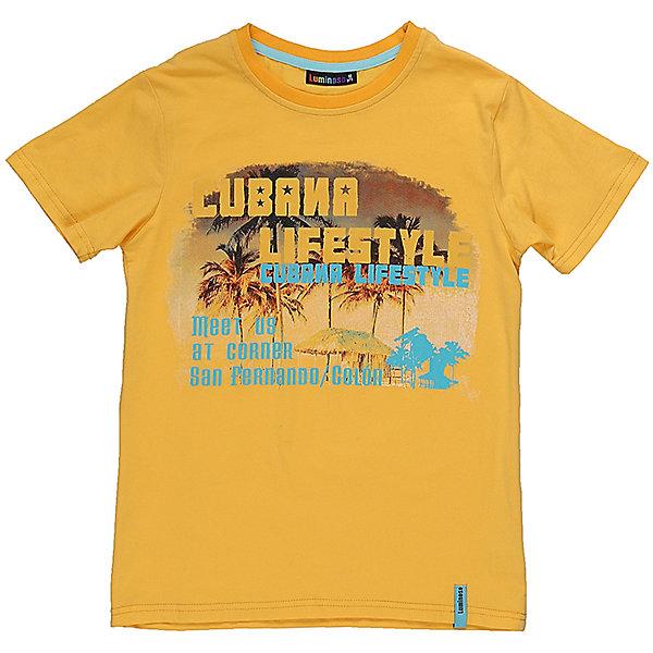 Футболка для мальчика LuminosoФутболки, поло и топы<br>Стильная футболка из трикотажной ткани для мальчика с коротким рукавом. Декорирована ярким принтом<br>Состав:<br>95%хлопок 5%эластан<br>Ширина мм: 199; Глубина мм: 10; Высота мм: 161; Вес г: 151; Цвет: желтый; Возраст от месяцев: 108; Возраст до месяцев: 120; Пол: Мужской; Возраст: Детский; Размер: 140,134,164,158,152,146; SKU: 5409803;