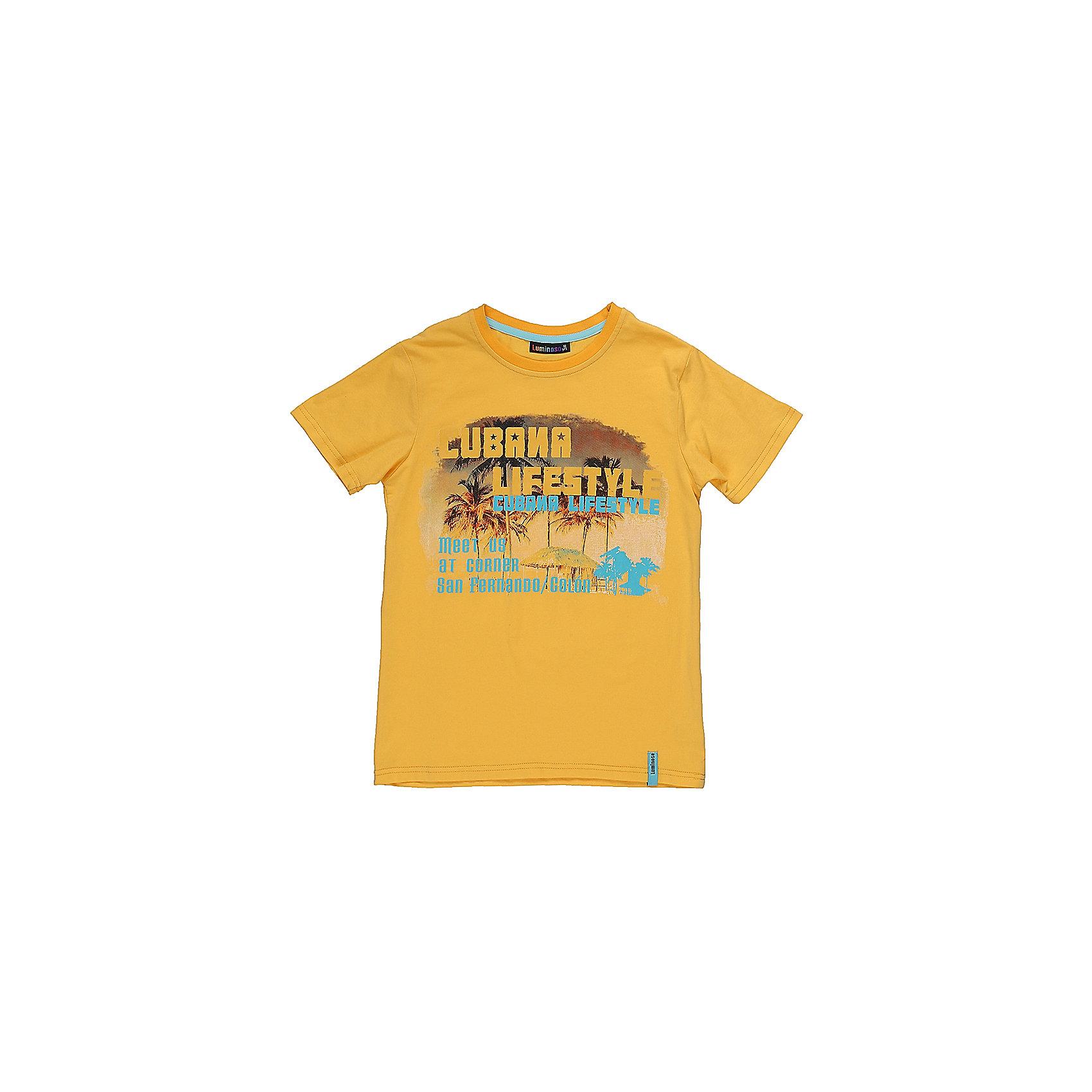 Футболка для мальчика LuminosoФутболки, поло и топы<br>Стильная футболка из трикотажной ткани для мальчика с коротким рукавом. Декорирована ярким принтом<br>Состав:<br>95%хлопок 5%эластан<br><br>Ширина мм: 199<br>Глубина мм: 10<br>Высота мм: 161<br>Вес г: 151<br>Цвет: желтый<br>Возраст от месяцев: 96<br>Возраст до месяцев: 108<br>Пол: Мужской<br>Возраст: Детский<br>Размер: 134,140,146,152,158,164<br>SKU: 5409803