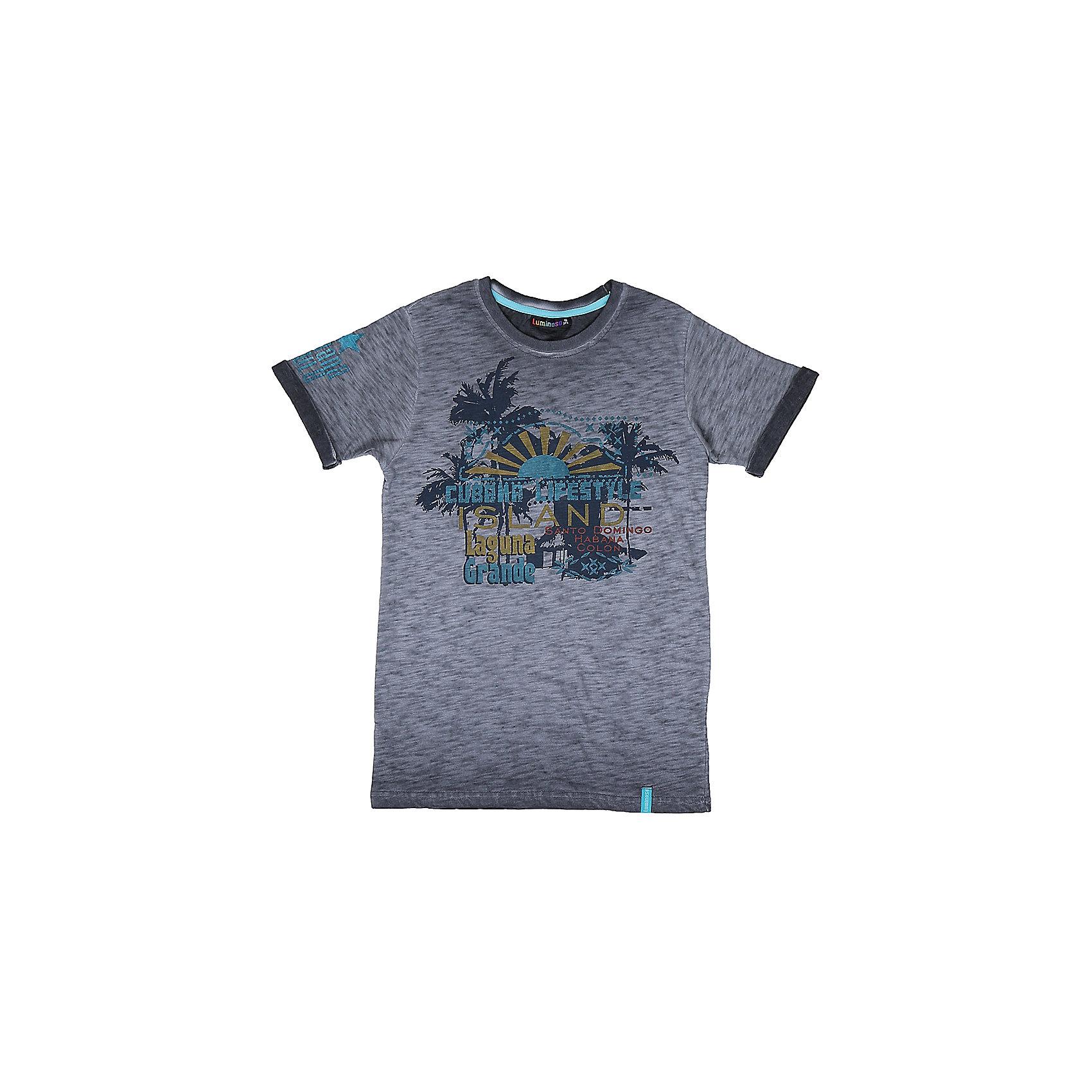 Футболка для мальчика LuminosoФутболки, поло и топы<br>Стильная футболка из трикотажной ткани для мальчика с коротким рукавом. Декорирована ярким принтом<br>Состав:<br>95%хлопок 5%эластан<br><br>Ширина мм: 199<br>Глубина мм: 10<br>Высота мм: 161<br>Вес г: 151<br>Цвет: серый<br>Возраст от месяцев: 96<br>Возраст до месяцев: 108<br>Пол: Мужской<br>Возраст: Детский<br>Размер: 134,140,146,152,158,164<br>SKU: 5409810