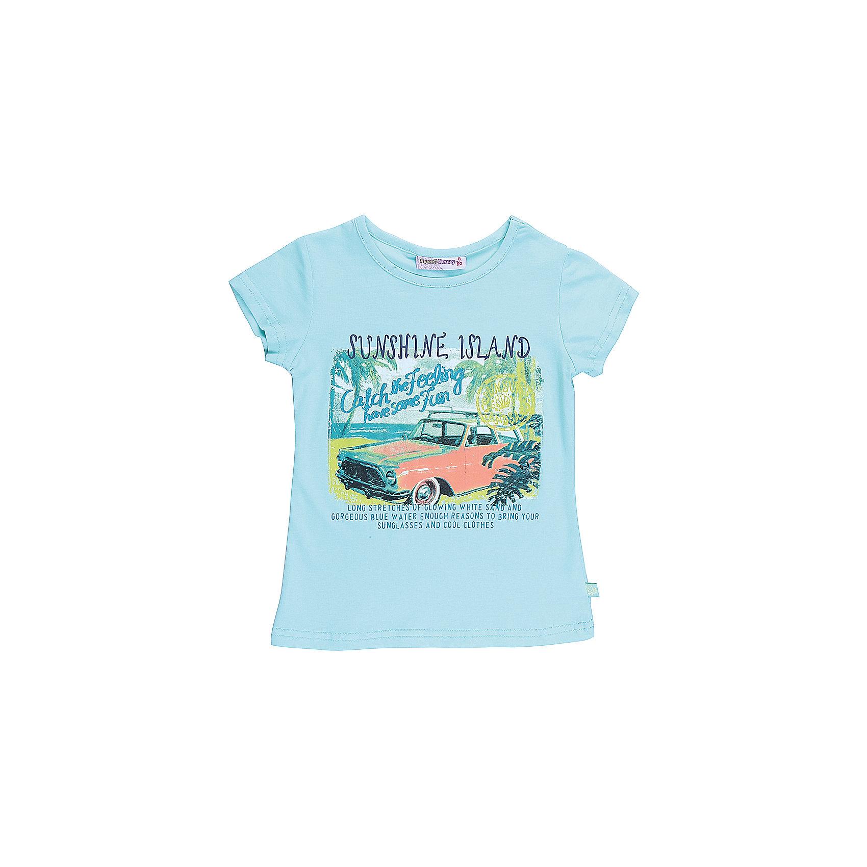 Футболка для девочки Sweet BerryФутболки, поло и топы<br>Стильная футболка из трикотажной ткани для девочки с коротким рукавом. Декорирована оригинальным принтом. Приталенный крой.<br>Состав:<br>95%хлопок 5%эластан<br><br>Ширина мм: 199<br>Глубина мм: 10<br>Высота мм: 161<br>Вес г: 151<br>Цвет: голубой<br>Возраст от месяцев: 84<br>Возраст до месяцев: 96<br>Пол: Женский<br>Возраст: Детский<br>Размер: 128,104,98,110,116,122<br>SKU: 5409845