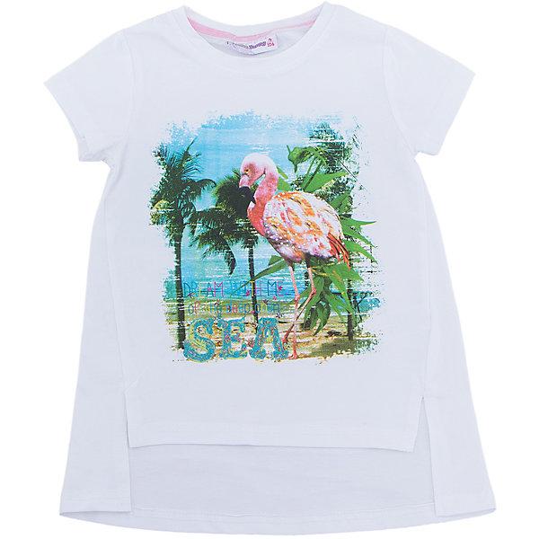Футболка для девочки Sweet BerryФутболки, поло и топы<br>Удлиненная футболка из трикотажной, мягкой ткани для девочки с коротким рукавом и удлиненной спинкой. Декорирована оригинальным принтом.<br>Состав:<br>95%хлопок 5%эластан<br><br>Ширина мм: 199<br>Глубина мм: 10<br>Высота мм: 161<br>Вес г: 151<br>Цвет: белый<br>Возраст от месяцев: 72<br>Возраст до месяцев: 84<br>Пол: Женский<br>Возраст: Детский<br>Размер: 122,104,128,116,110,98<br>SKU: 5409859
